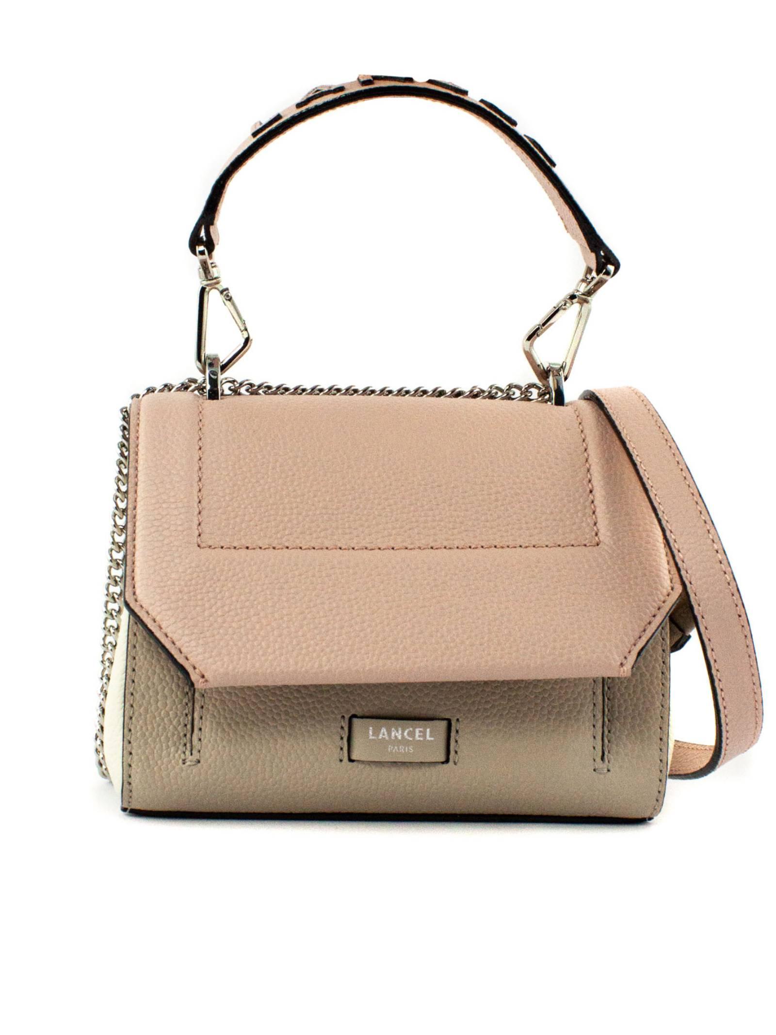 Beige And Pink Leather Shoulder Bag