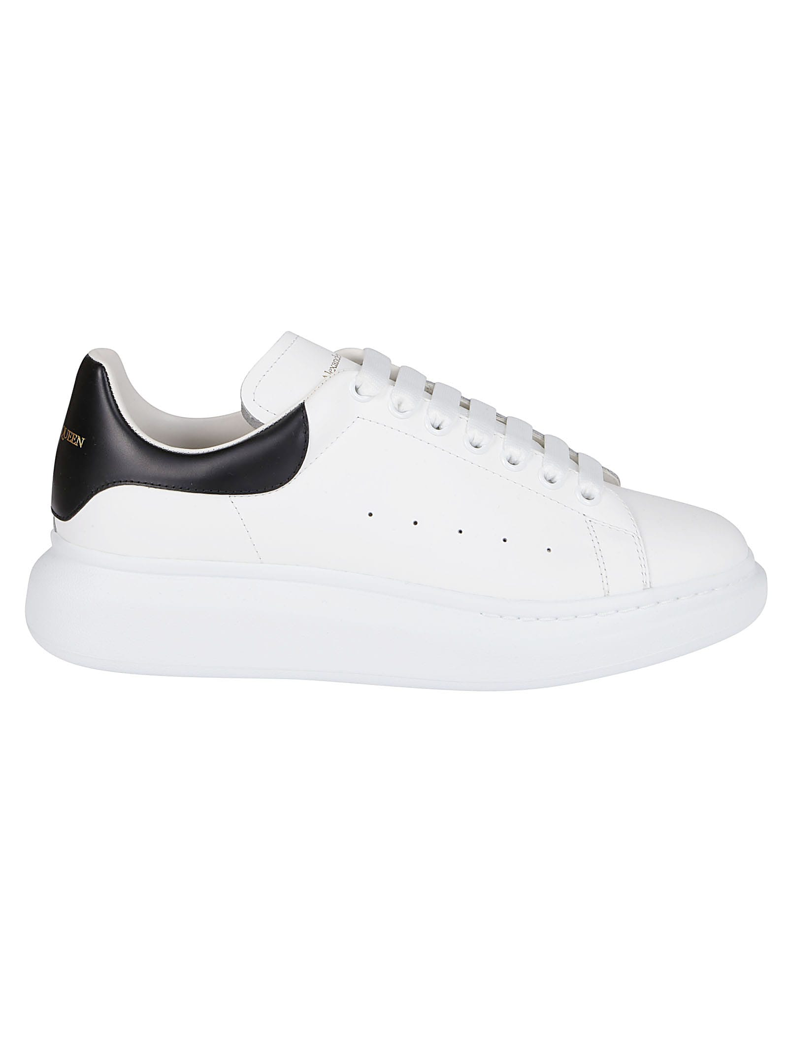 Alexander Mcqueen WHITE AND BLACK LEATHER OVERSIZED SNEAKERS