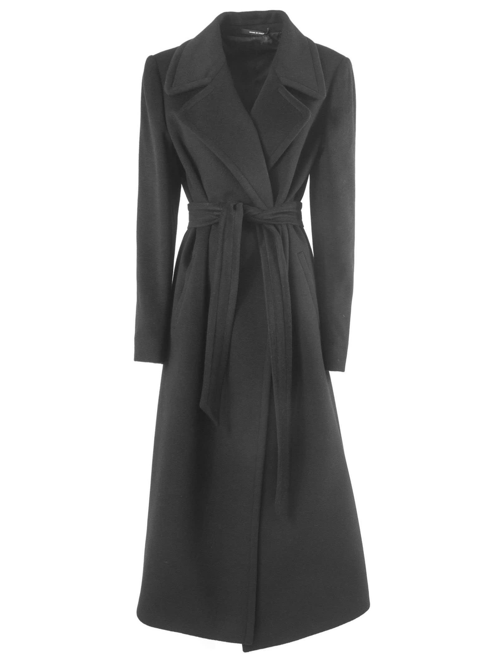 Tagliatore Long Coat In Black Cashmere