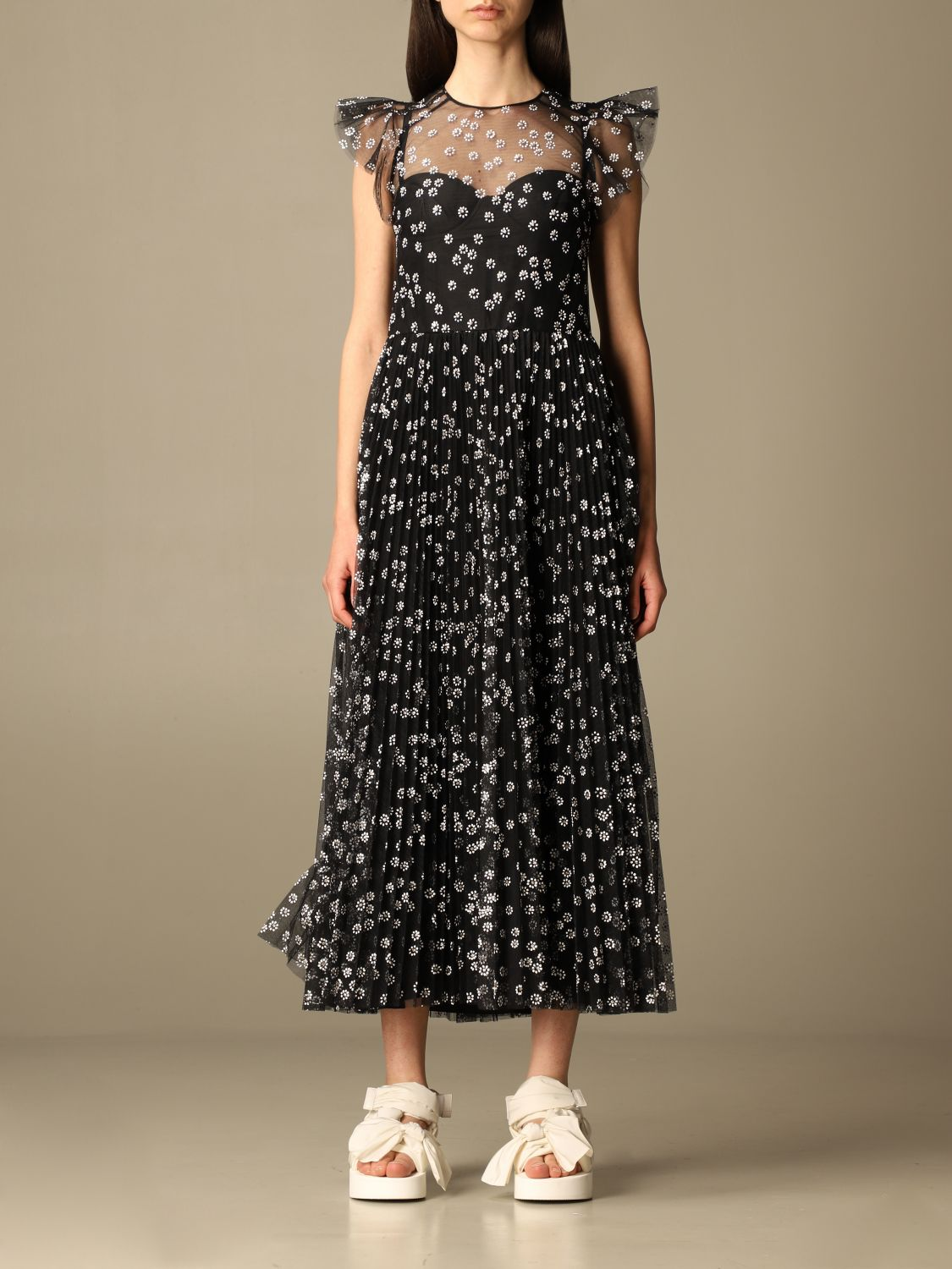 Red Valentino Dress Red Valentino Long Dress In Floral Patterned Tulle