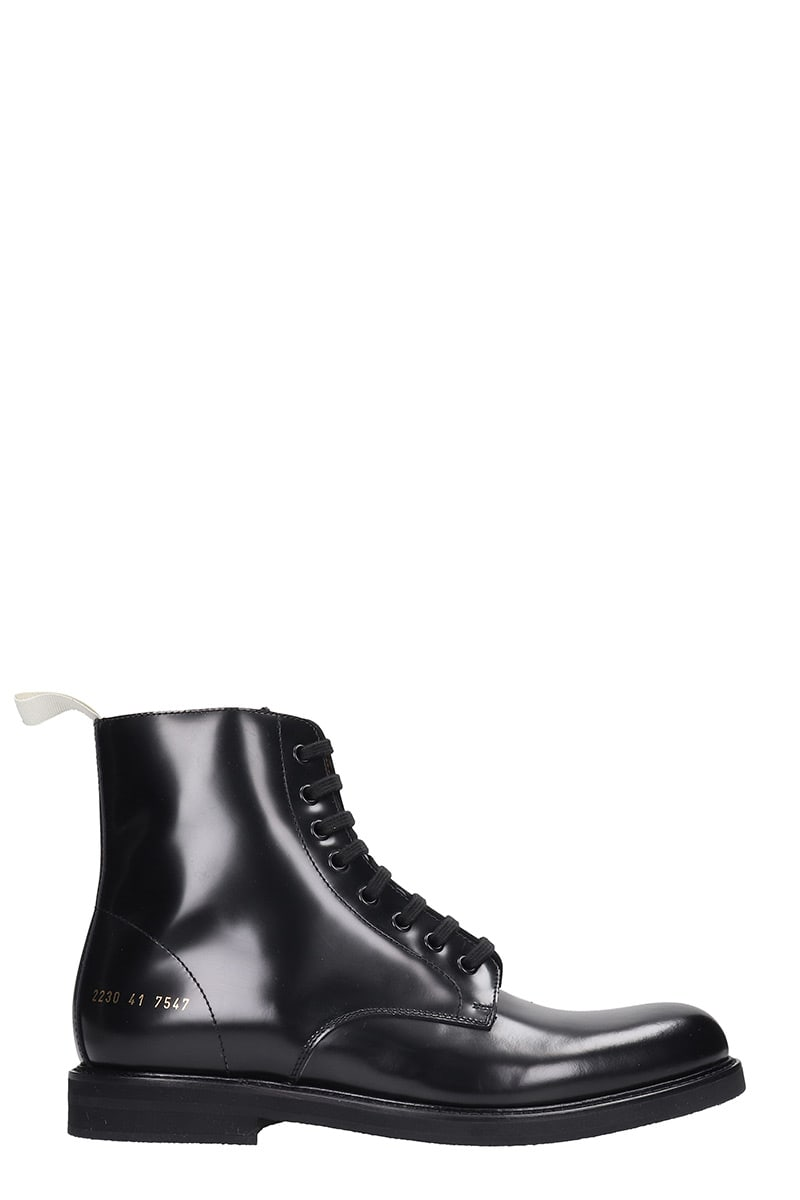 Common Projects STANDARD COMBAT COMBAT BOOTS IN BLACK LEATHER