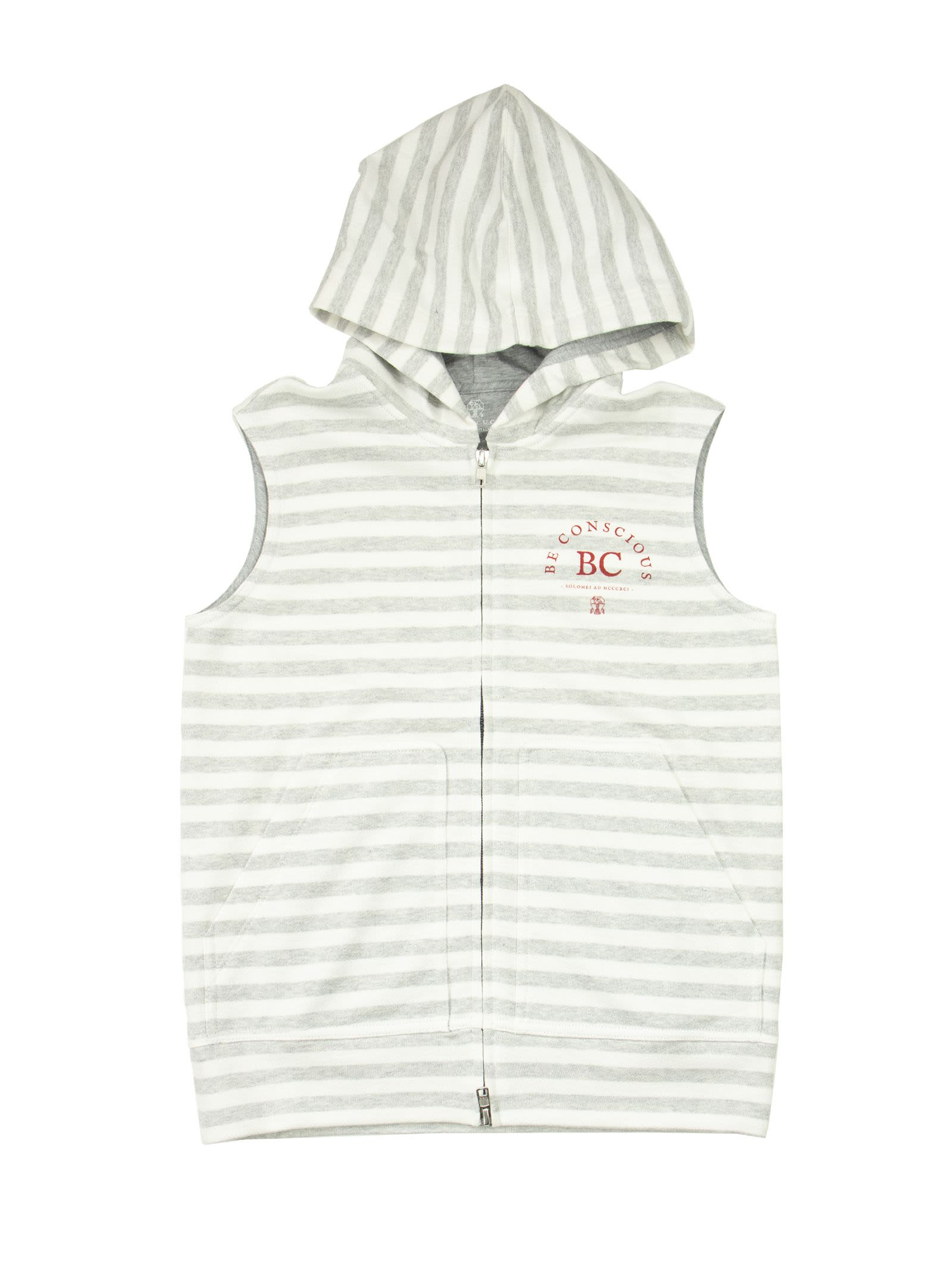 Brunello Cucinelli Linens COTTON AND LINEN STRIPED FRENCH TERRY SLEEVELESS SWEATSHIRT WITH HOOD AND PRINT