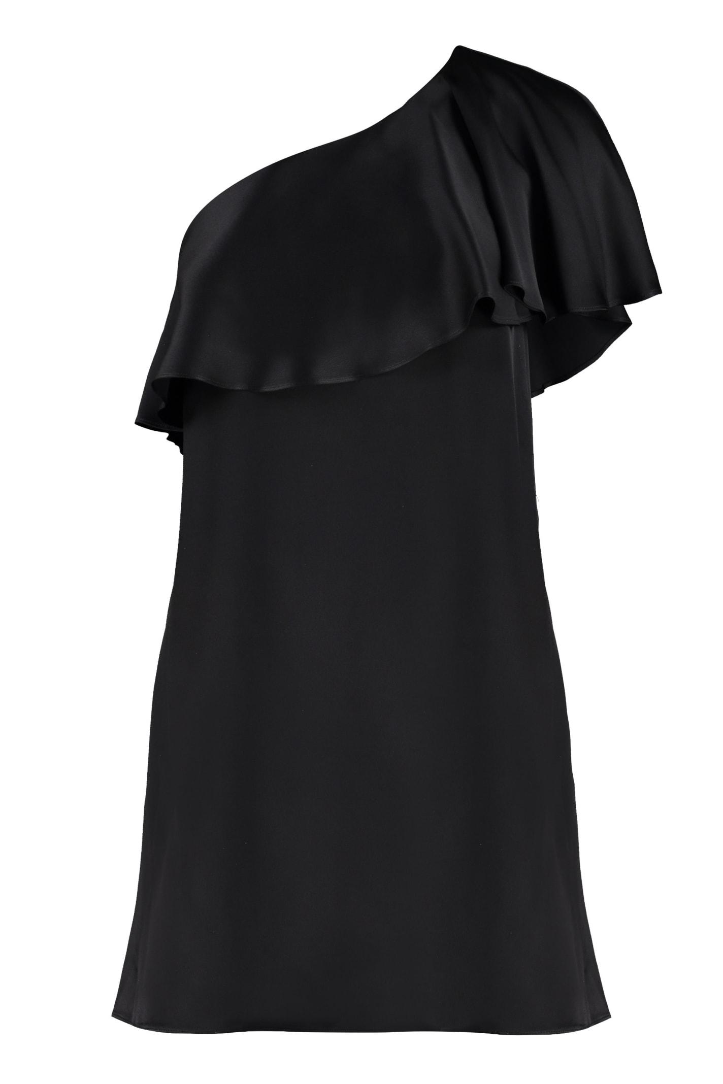 Buy Saint Laurent Crepe-satin One-shoulder Dress online, shop Saint Laurent with free shipping