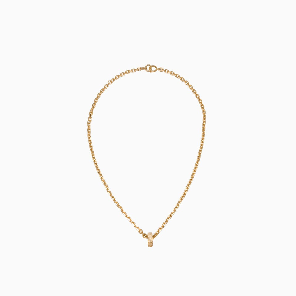Off-white Textured Lines Hexnut Necklace Omob056e20met001