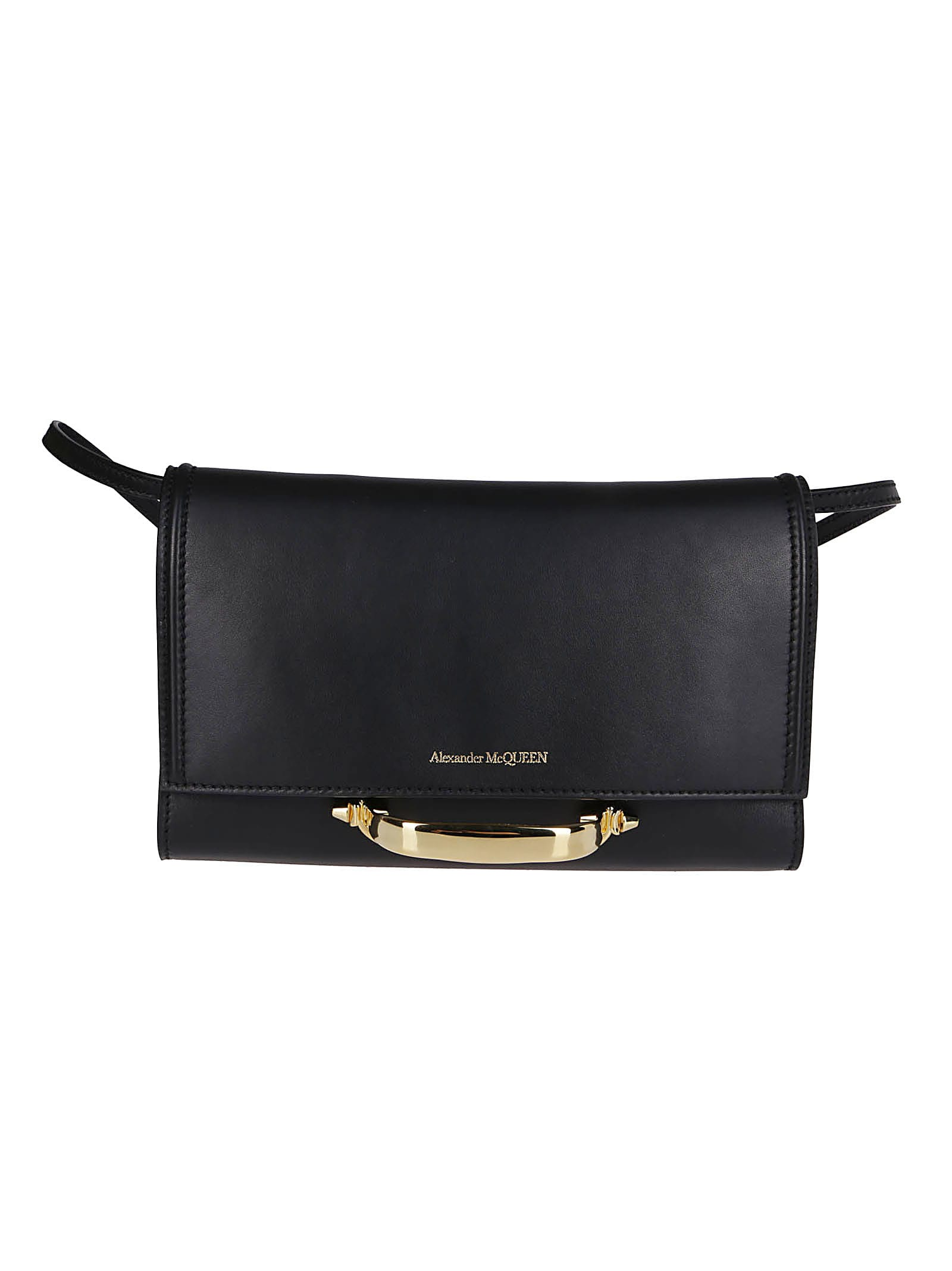 Alexander Mcqueen Black Leather The Story Shoulder Bag In Black Red