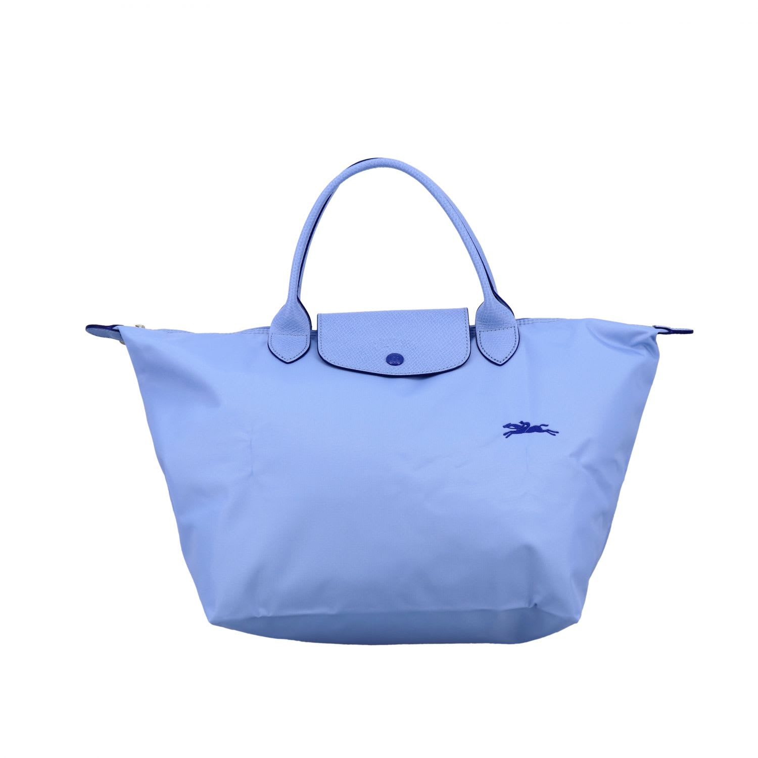 Longchamp Bag In Nylon With Embroidered Logo In Gnawed Blue