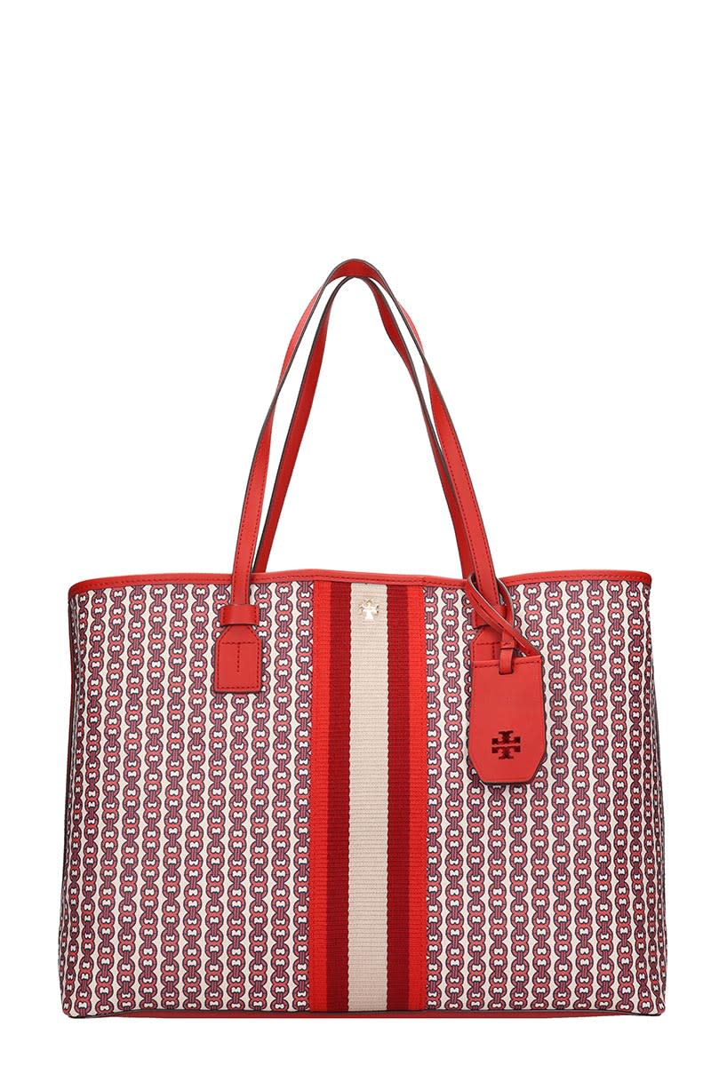 Tory Burch Gemini Link Tote In Red Canvas