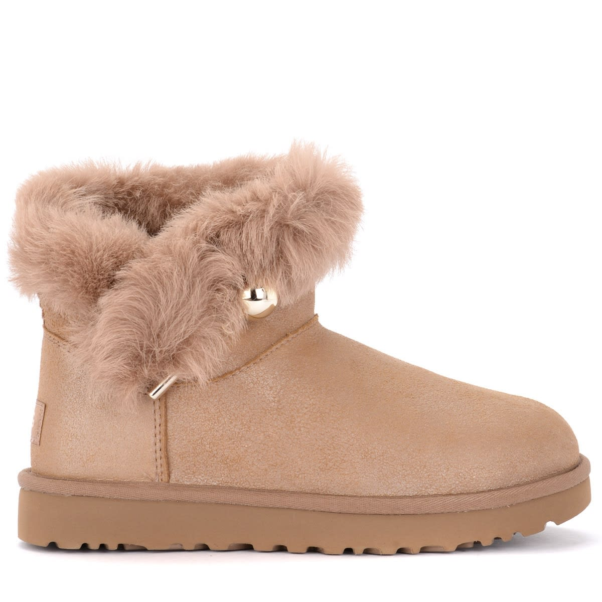 Ugg Classic Fluff Pin Mini Color Antique Pearl Ankle Boot With Brooch