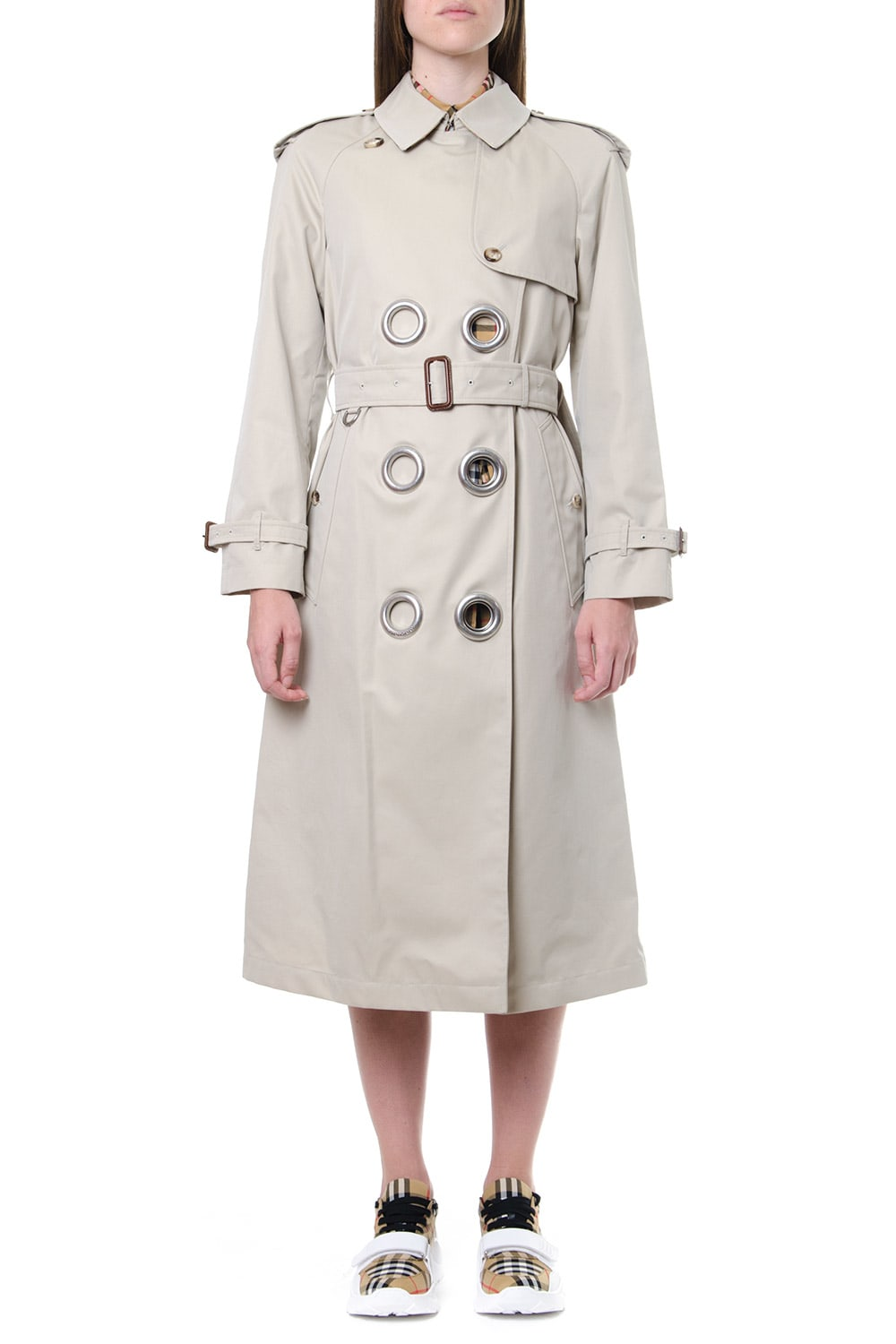 Burberry Beige Cotton Gabardine Trench With Metal Rings