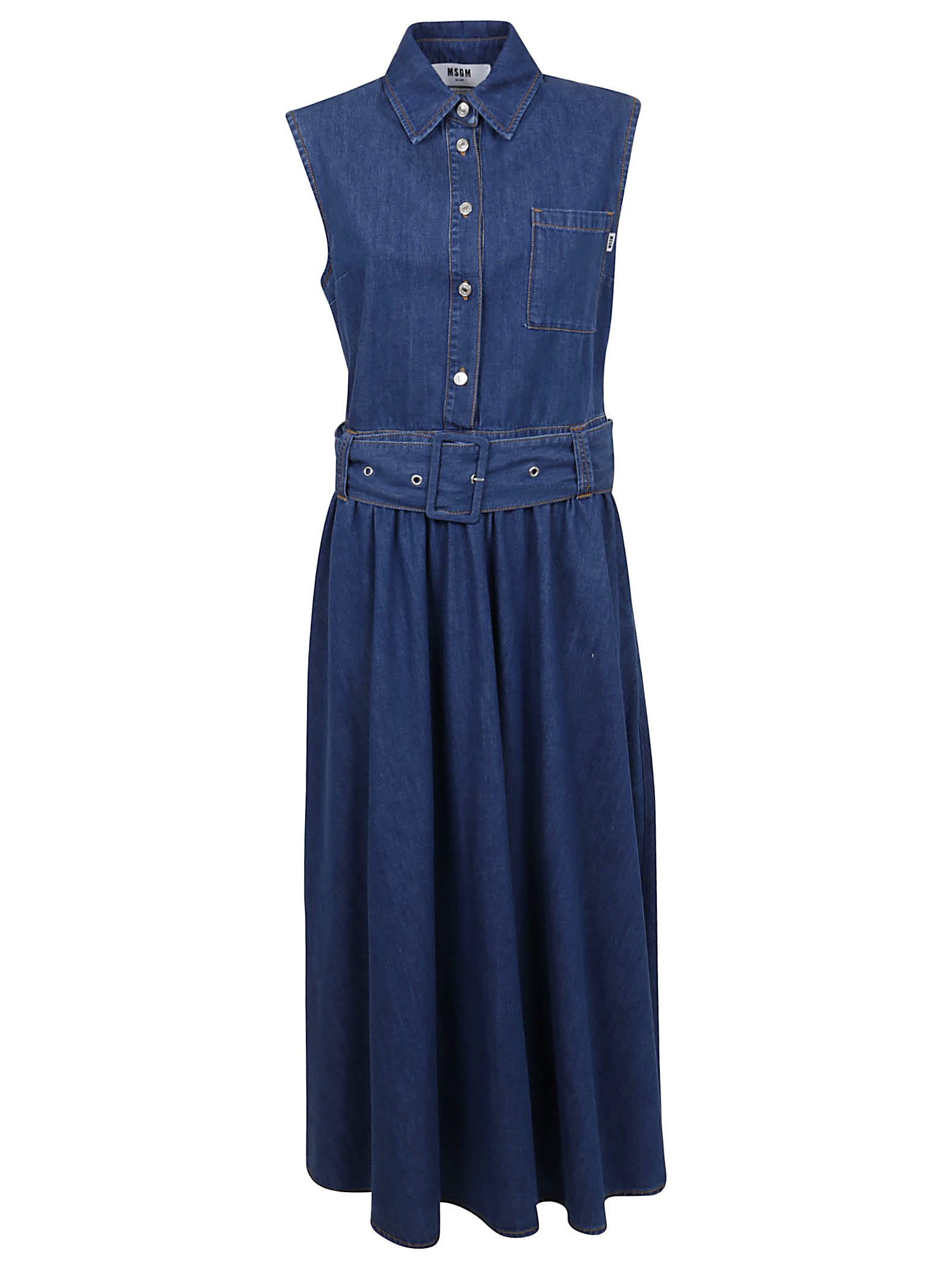 Buy MSGM Abito In Denim/denim Dress online, shop MSGM with free shipping