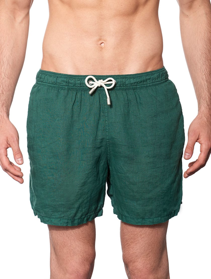 Solid Green Mid-length Linen Swim Shorts