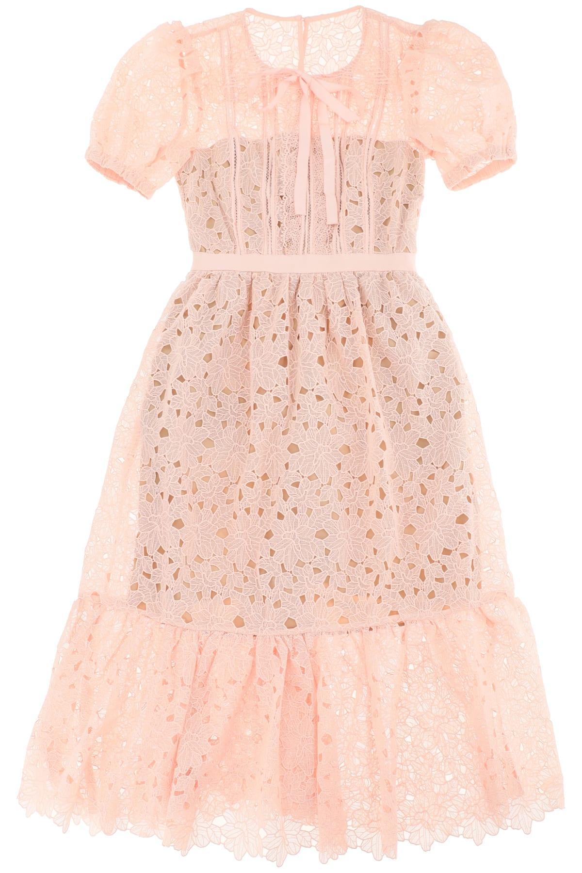 Buy self-portrait Blush Guipure Midi Dress online, shop self-portrait with free shipping