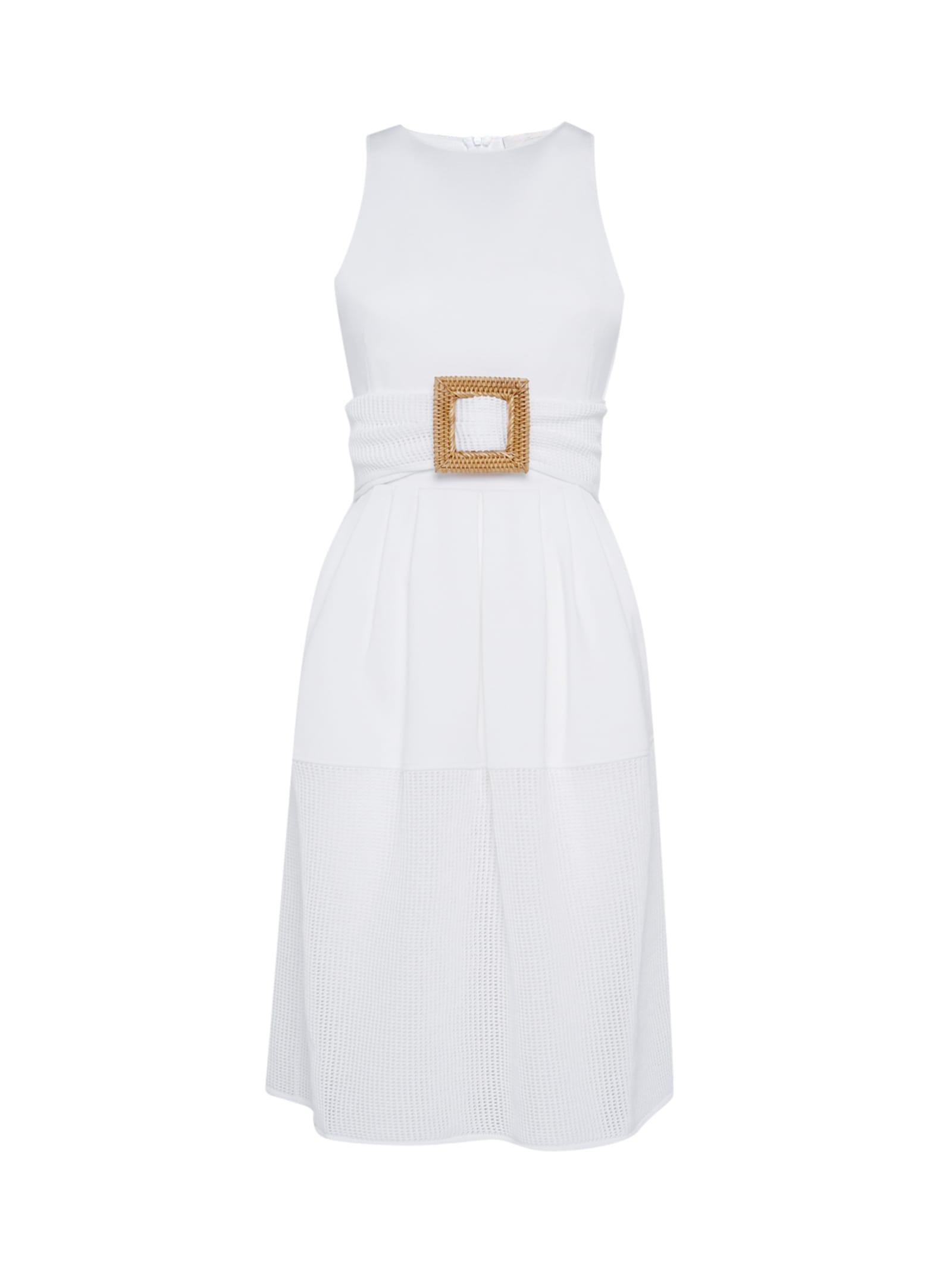 Belted White Stretch-knit Midi Dress