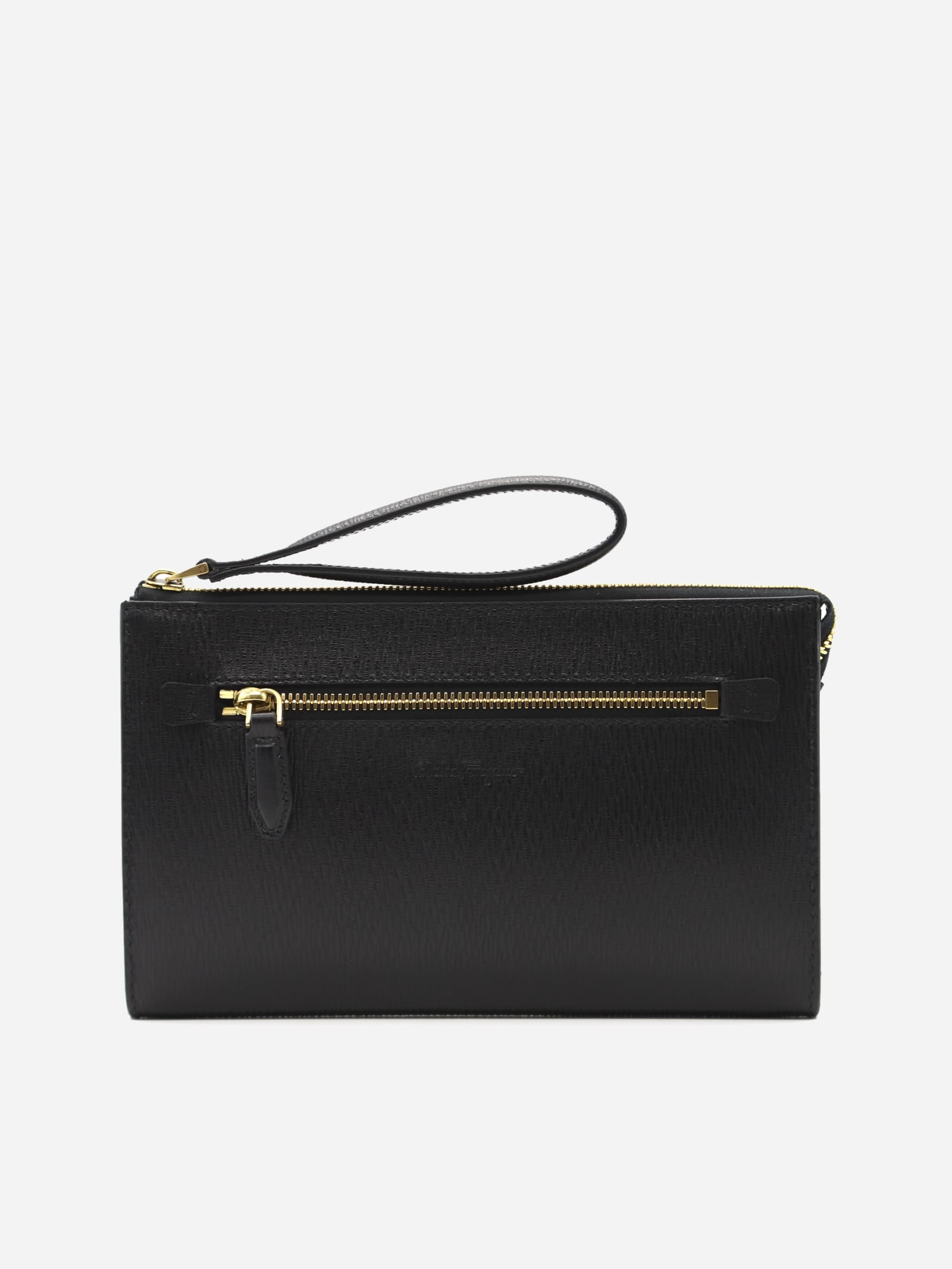 SALVATORE FERRAGAMO DOCUMENT HOLDER IN HAMMERED LEATHER WITH EMBOSSED LOGO