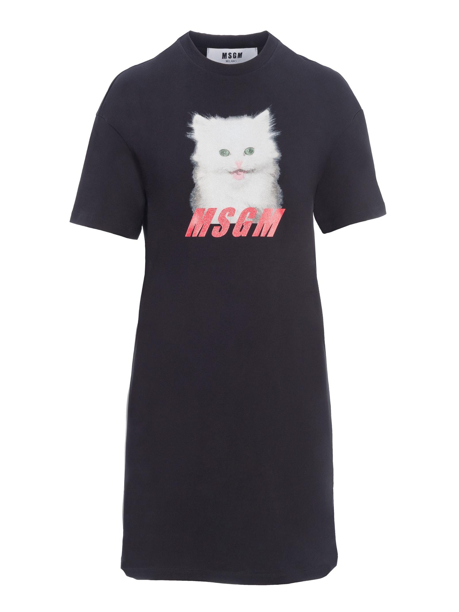 Msgm Cat Print Dress