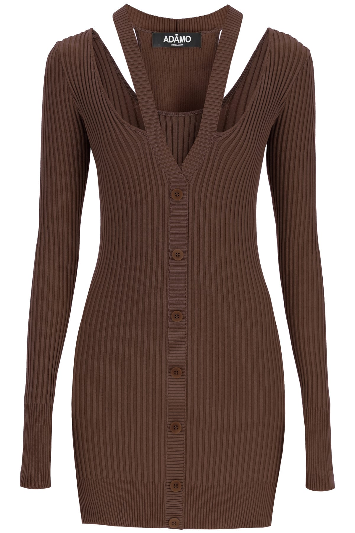 Buy Andrea Adamo Knit Mini Dress With Cut-out online, shop Andrea Adamo with free shipping