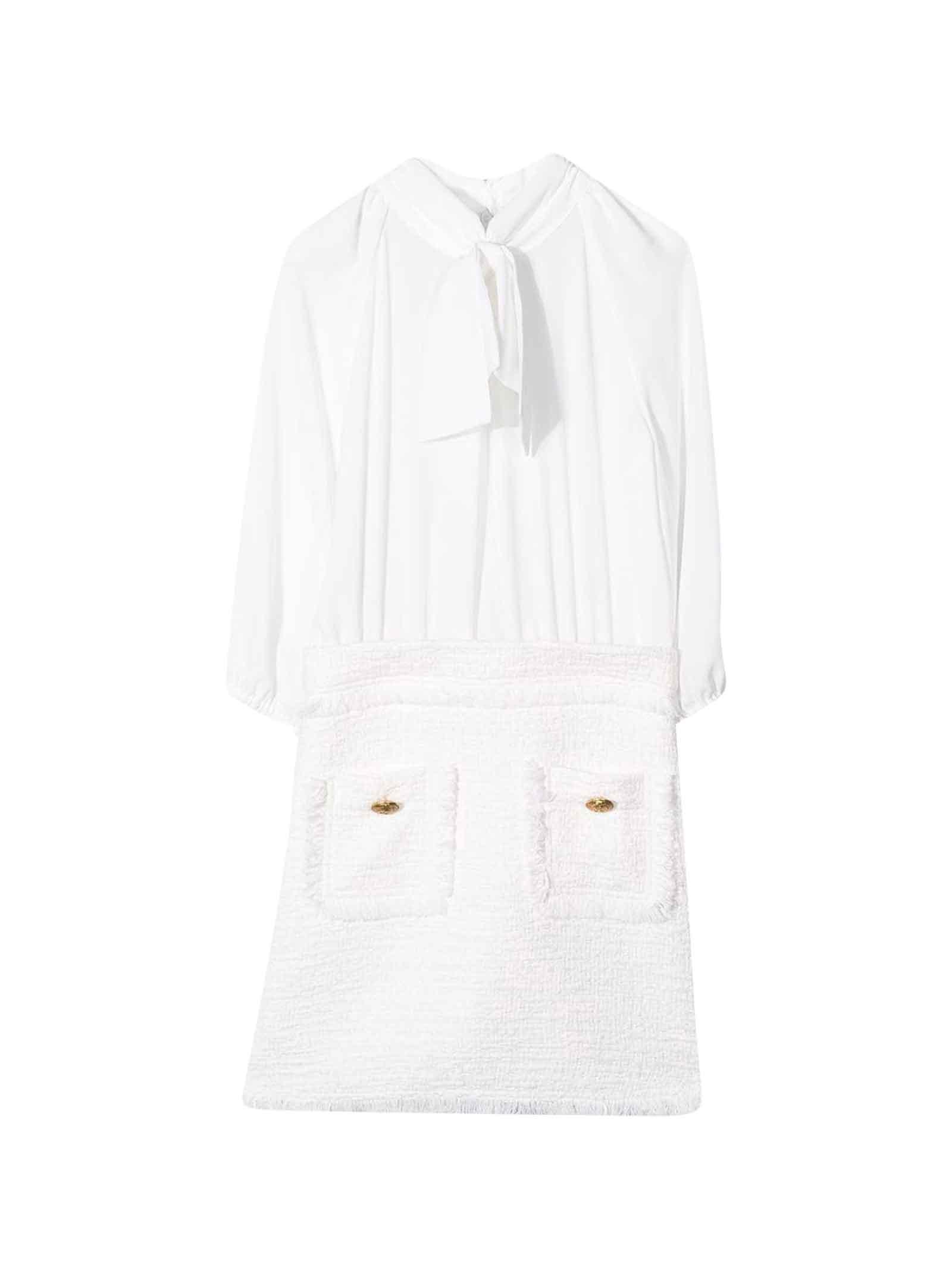 Buy Elisabetta Franchi La Mia Bambina White Dress online, shop Elisabetta Franchi La Mia Bambina with free shipping