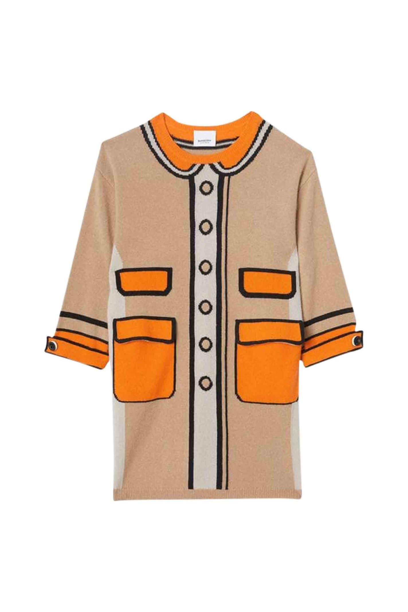 Buy Burberry Loeil Trompe Dress In Cashmere online, shop Burberry with free shipping