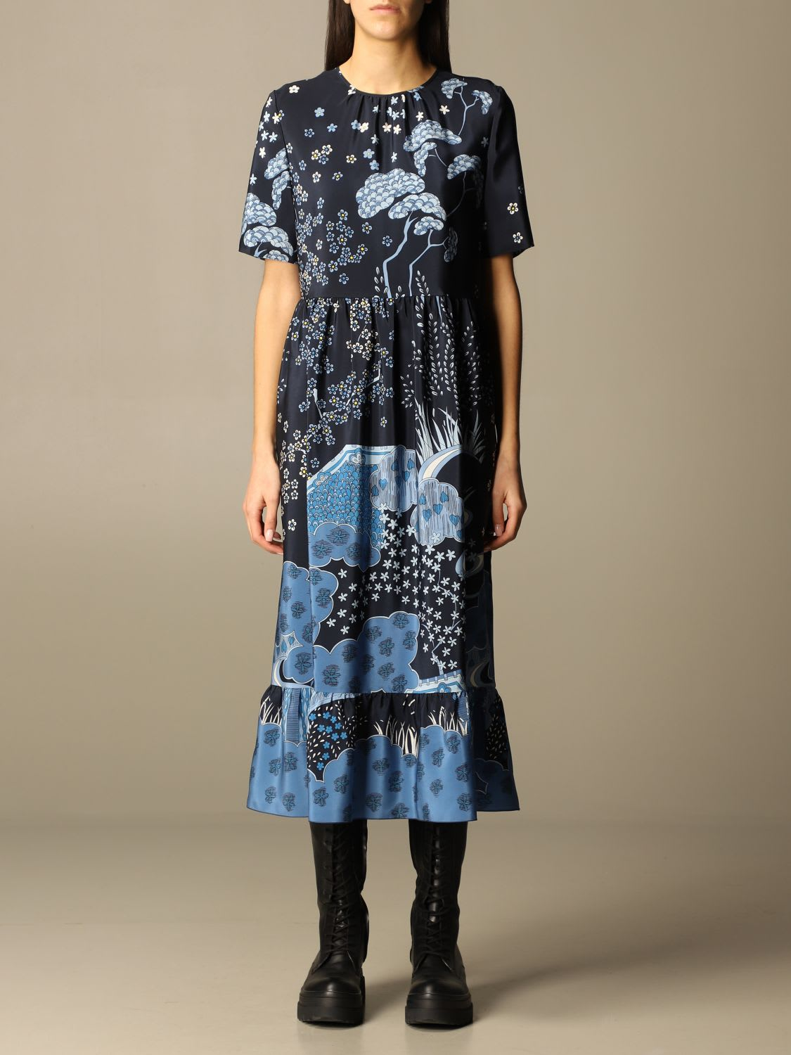 Red Valentino Dress Red Valentino Midi Dress In Floral Patterned Silk