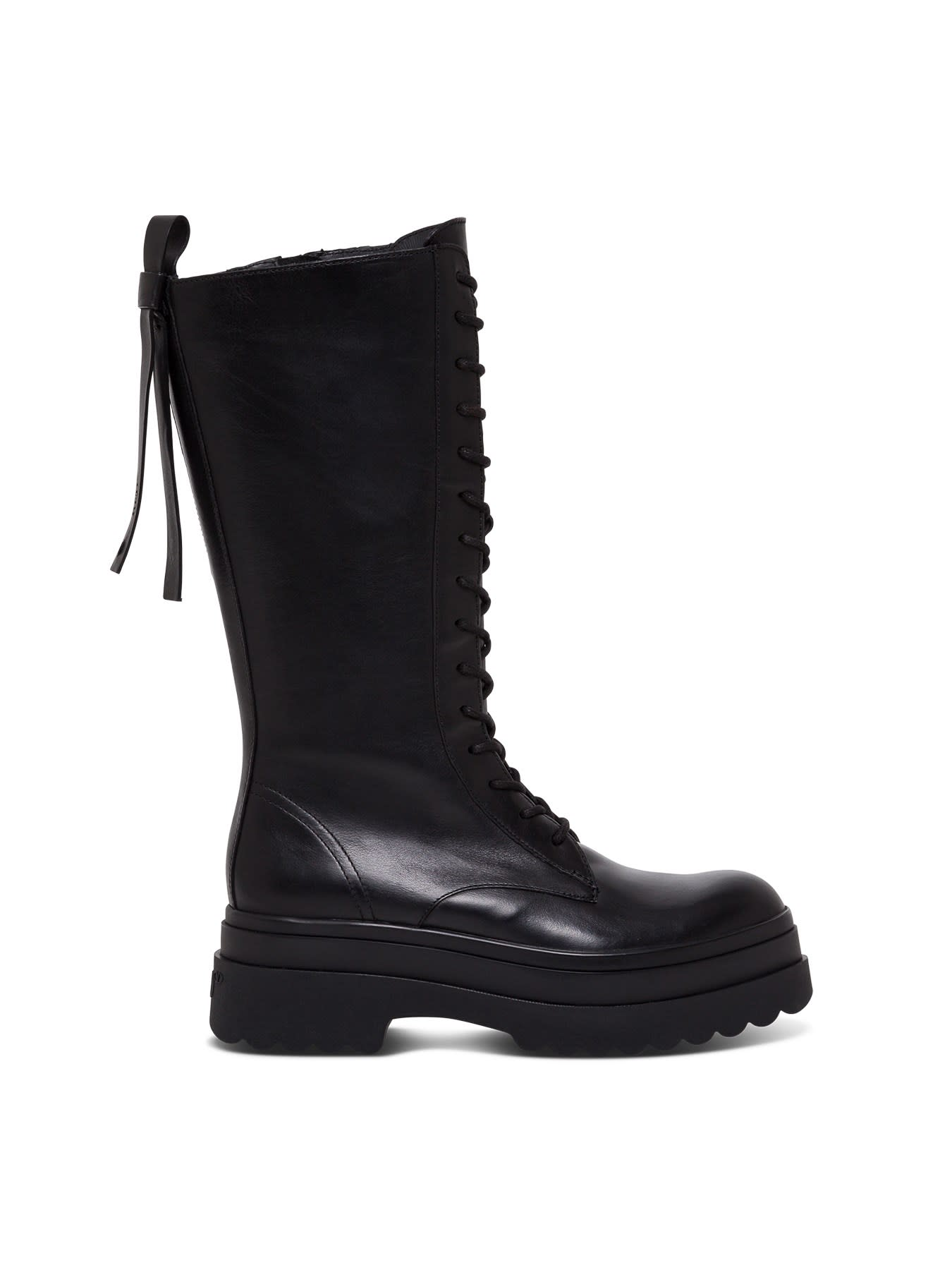 Shiny Black Leather Ankle Boot RED Valentino