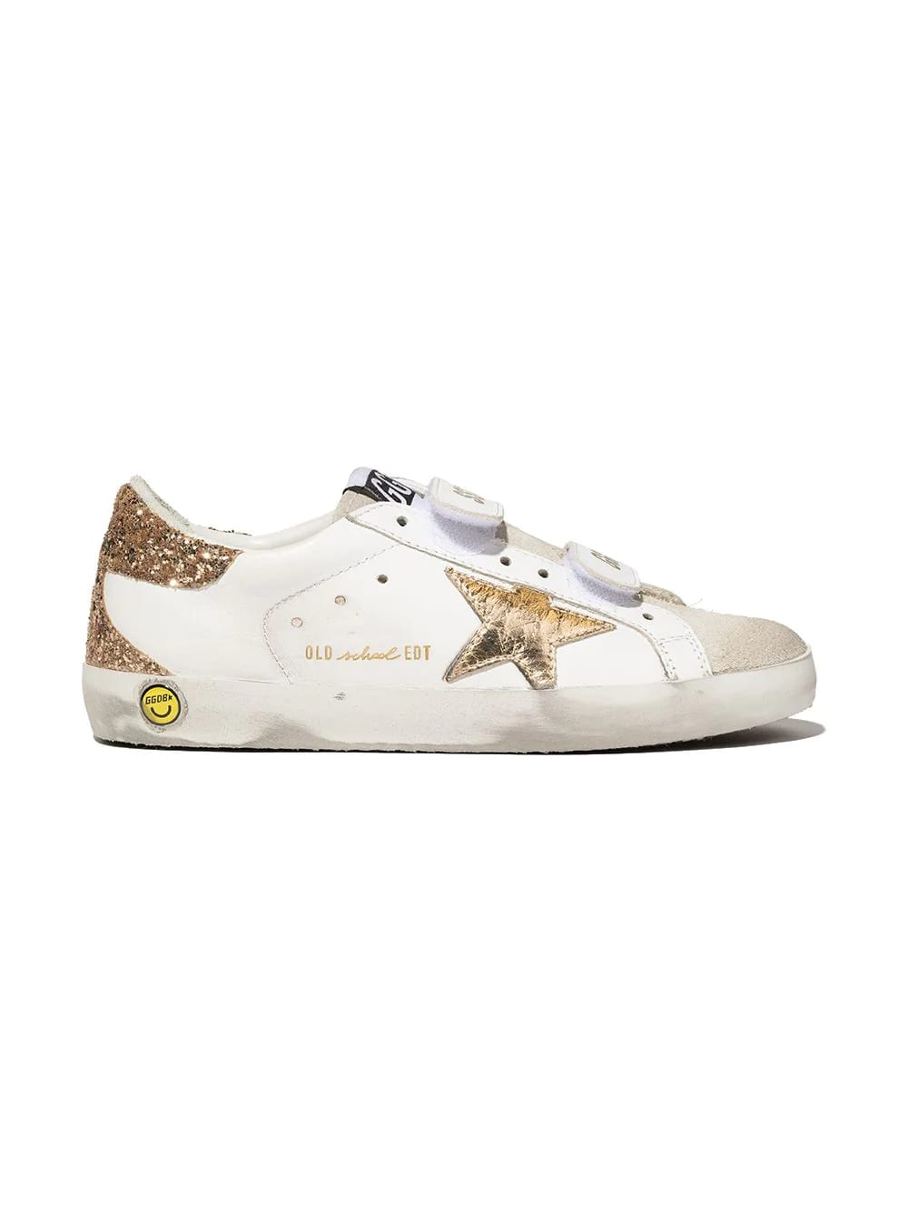 Golden Goose Junior White Super-star Sneakers With Golden Star And Spoiler
