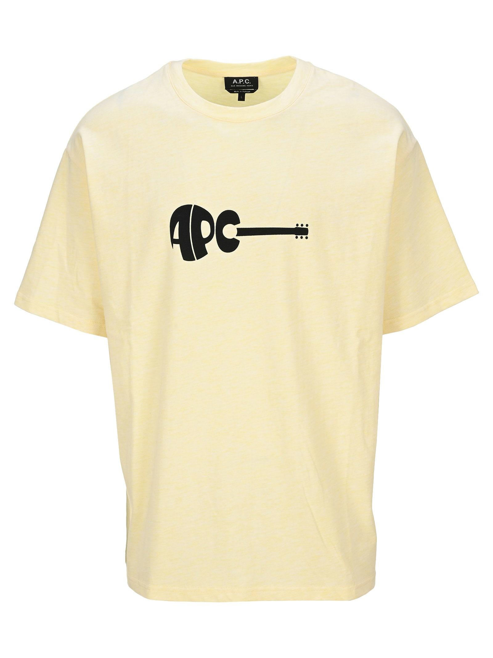 A.p.c. Guitar T-shirt In Yellow Ocra