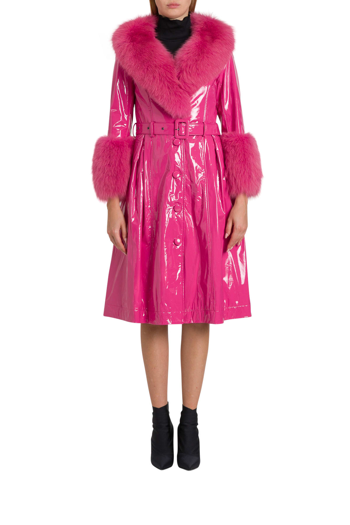 Photo of  Saks Potts Long Belted Patent Leather Coat With Fox Fur Trimming- shop Saks Potts jackets online sales