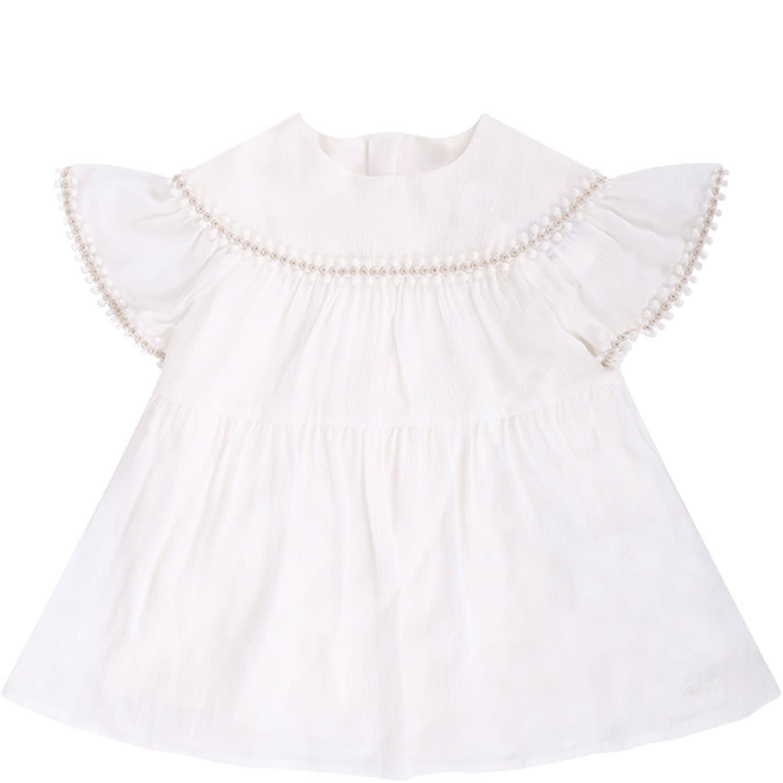 Chloé White Babygirl Dress Witth Logo
