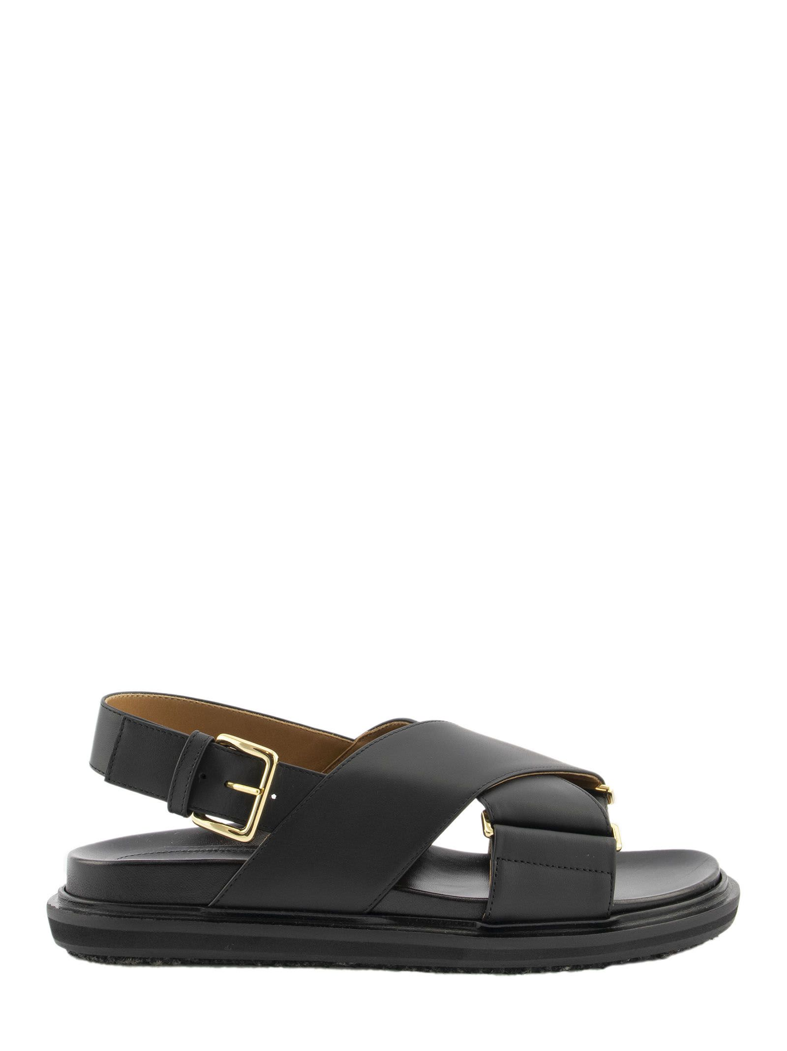 Marni Criss-cross Fussbett In Black Calfskin