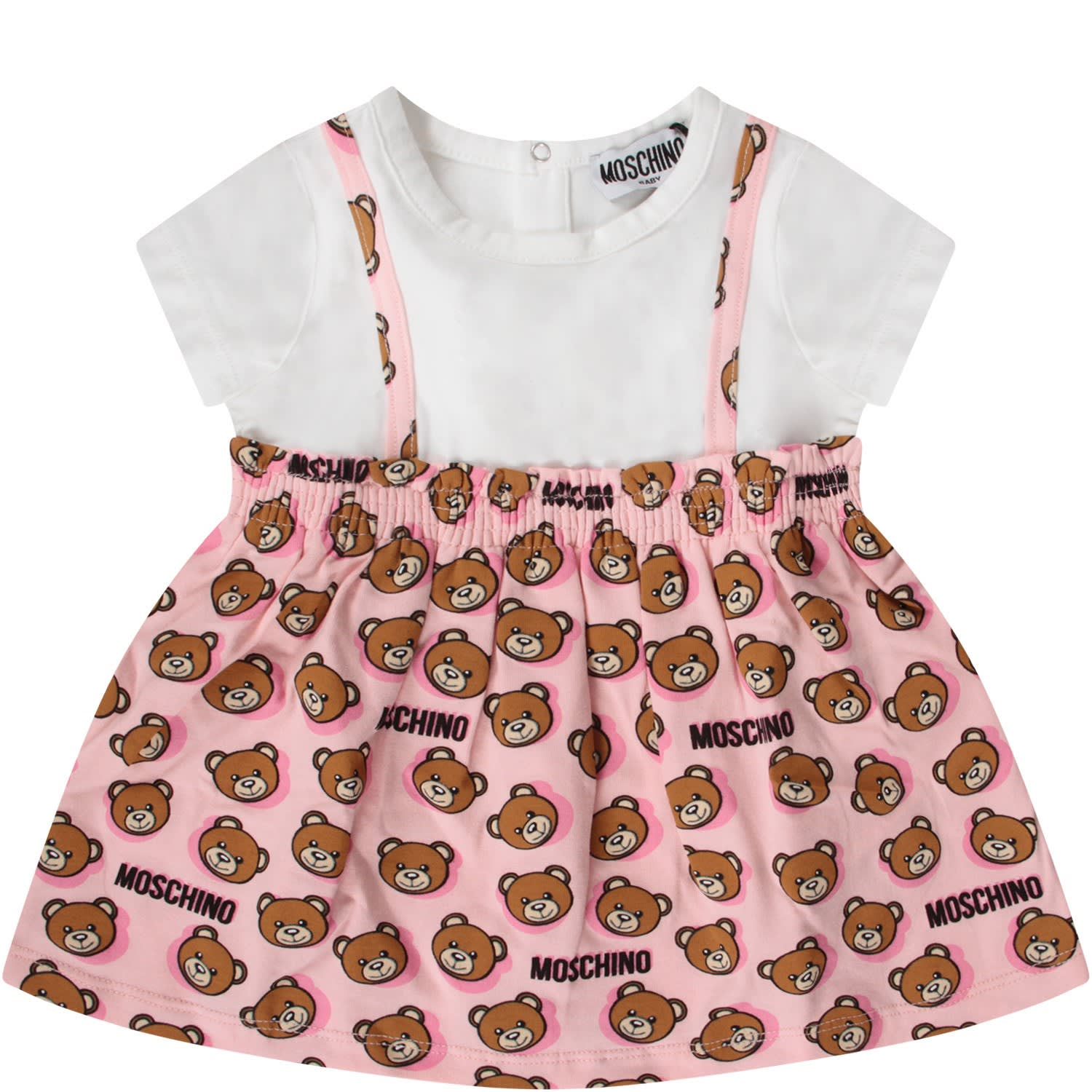 Buy Moschino White And Pink Babygirl Dress With Teddy Bears online, shop Moschino with free shipping