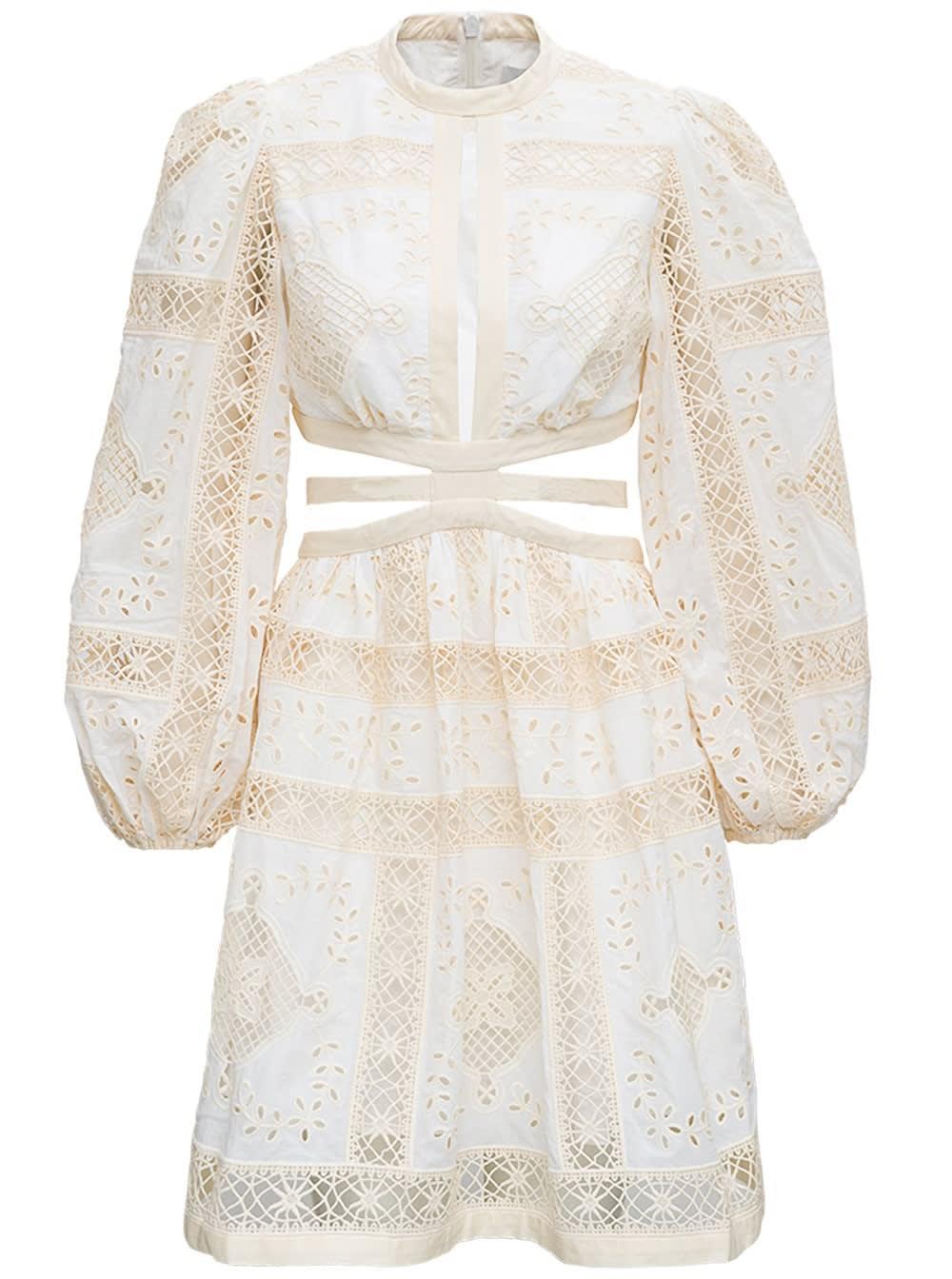 Buy Zimmermann Aliane Floral Openwork Cotton Dress online, shop Zimmermann with free shipping