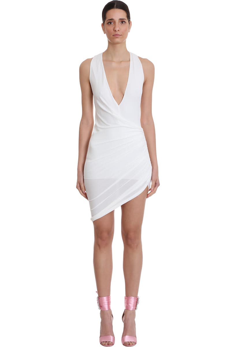 Buy Alexandre Vauthier Dress In White Viscose online, shop Alexandre Vauthier with free shipping