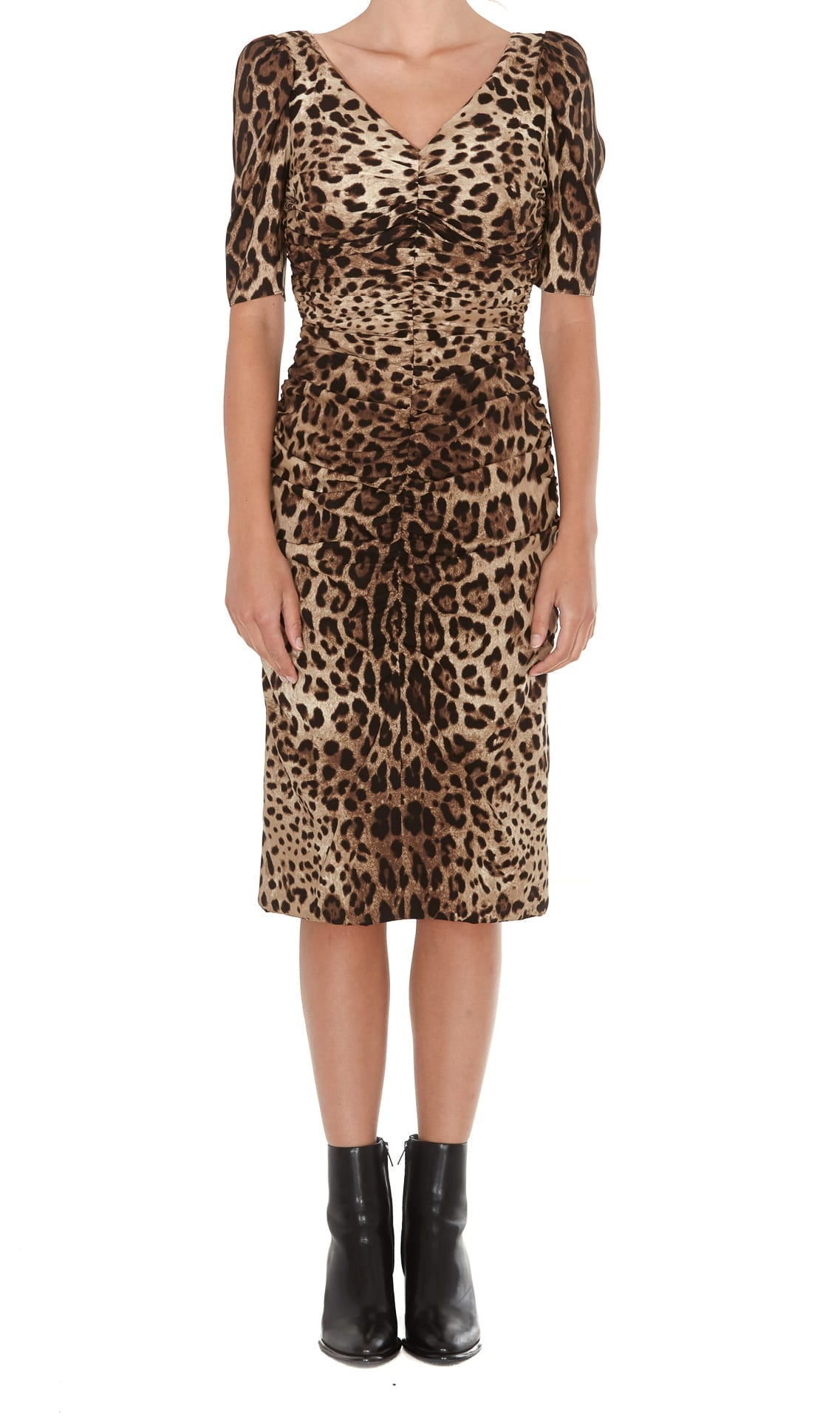 Dolce & Gabbana Charmeuse Midi Dress With Leopard Print