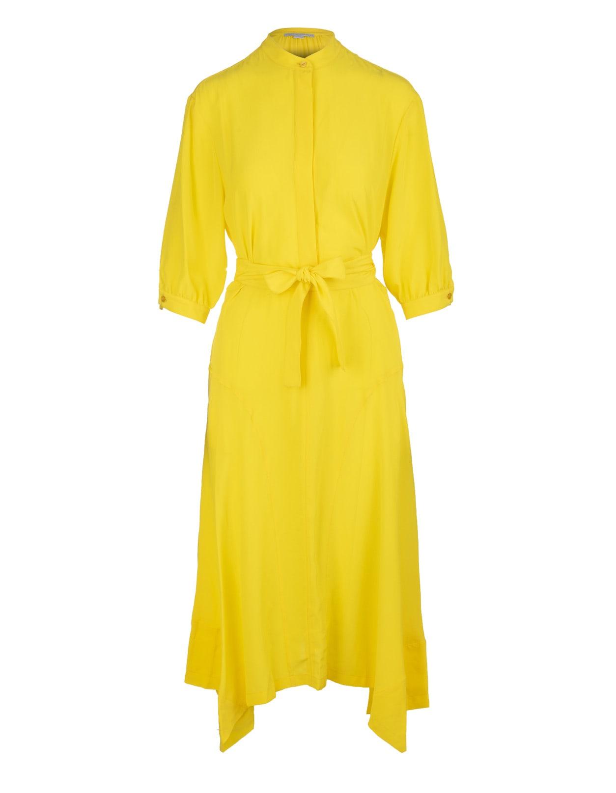 Buy Stella McCartney Yellow Silk Olivia Dress online, shop Stella McCartney with free shipping