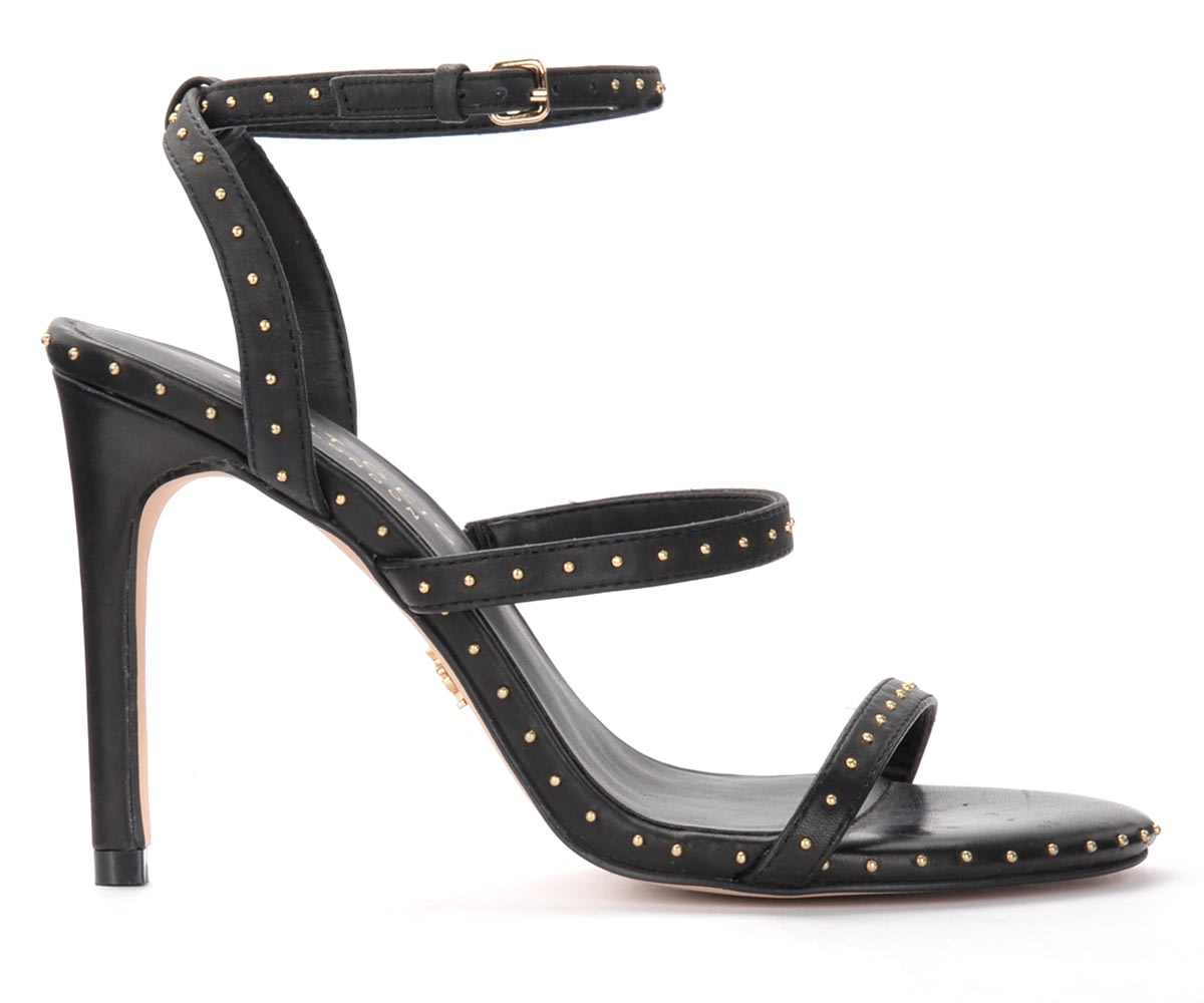 Portia Black Heeled Sandals With Micro Studs