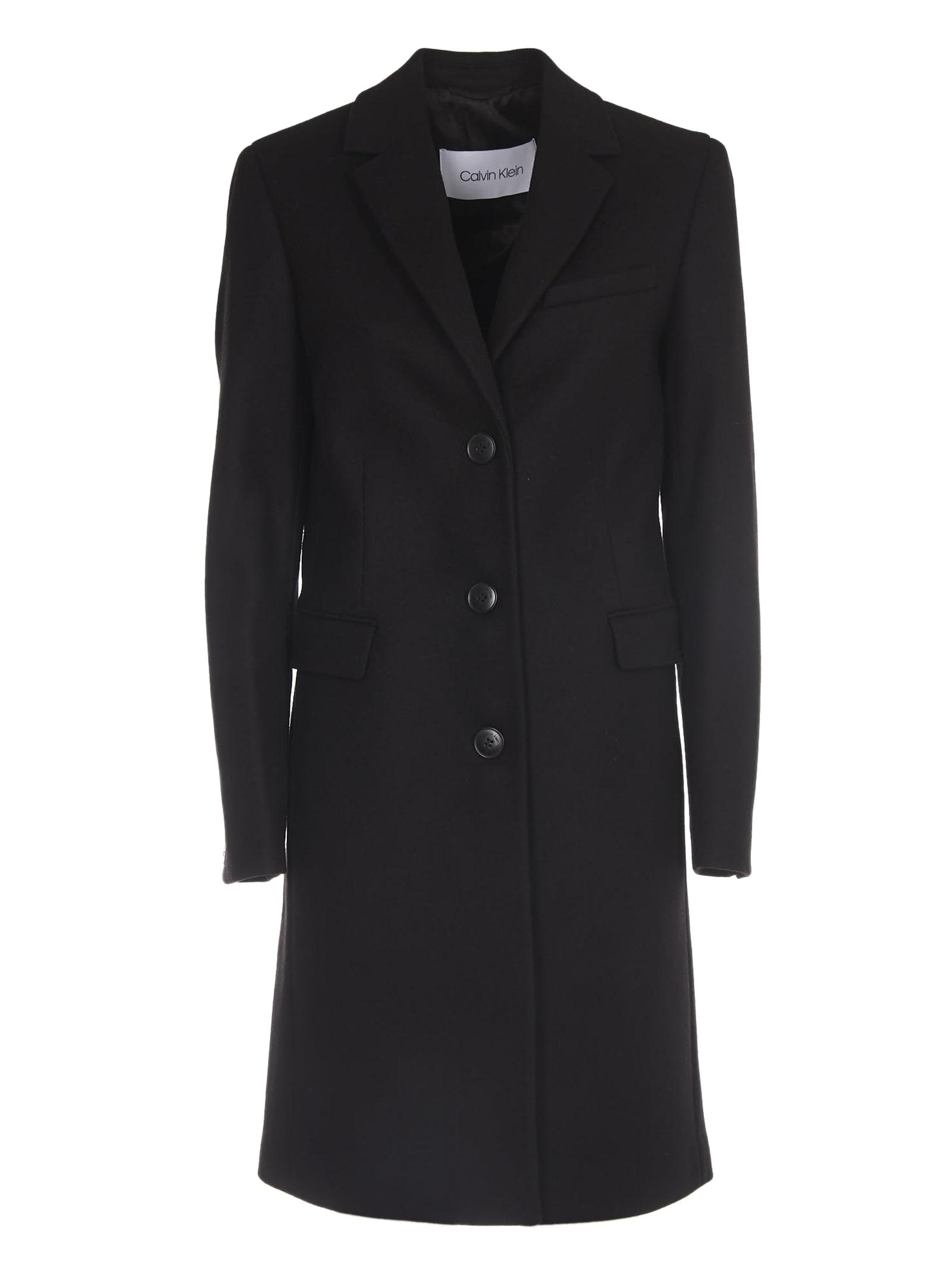 Calvin Klein Black Single-breasted Coat