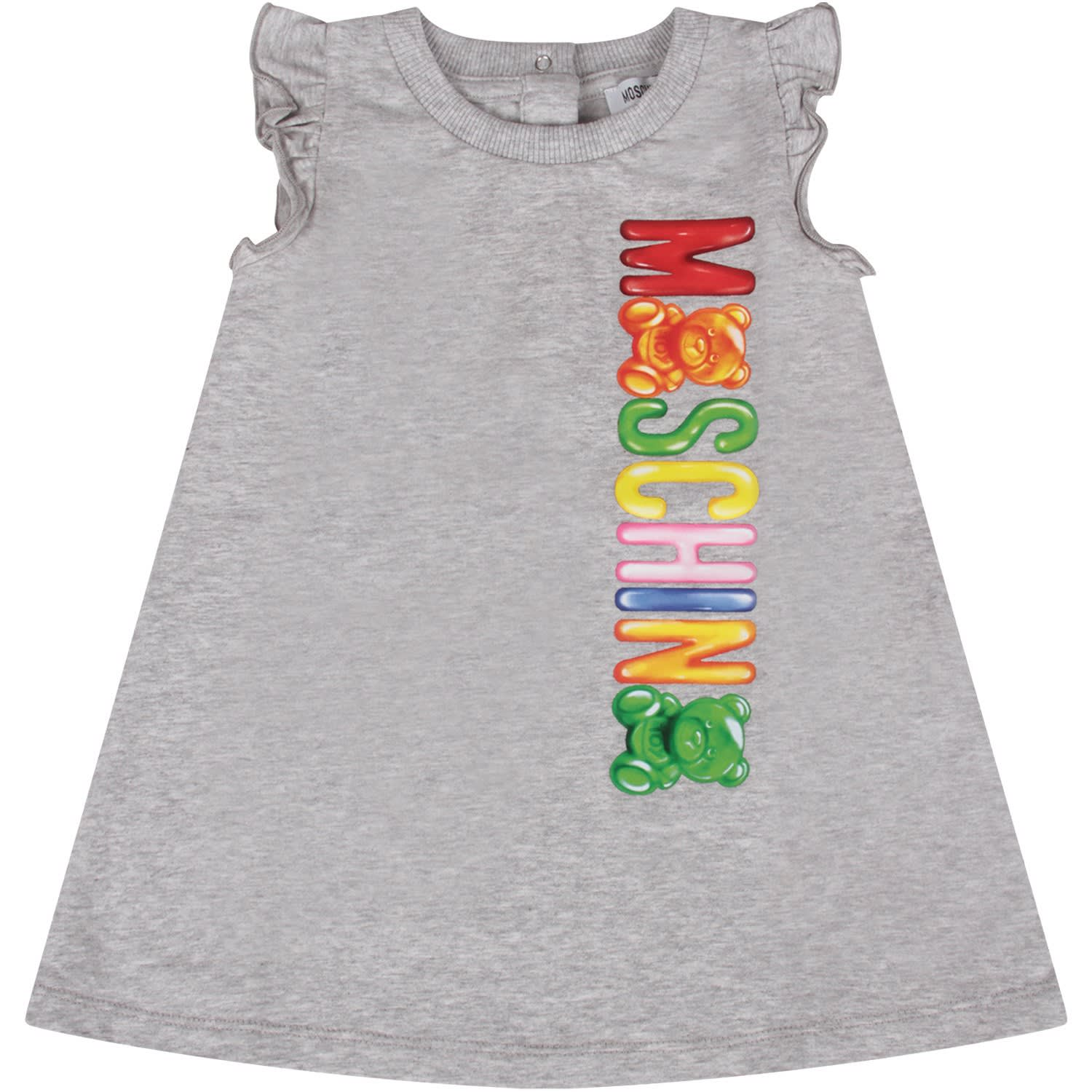 Moschino Grey Babygirl Dress With Colorful Logo And Teddy Bears