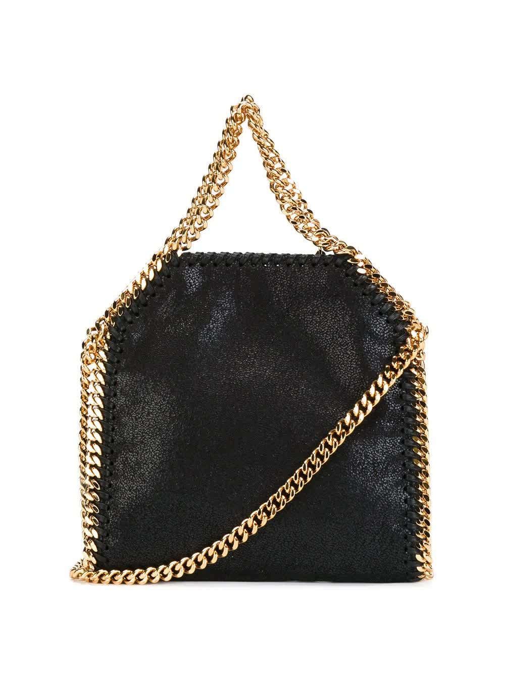Stella Mccartney BLACK AND GOLD FALABELLA TINY TOTE BAG