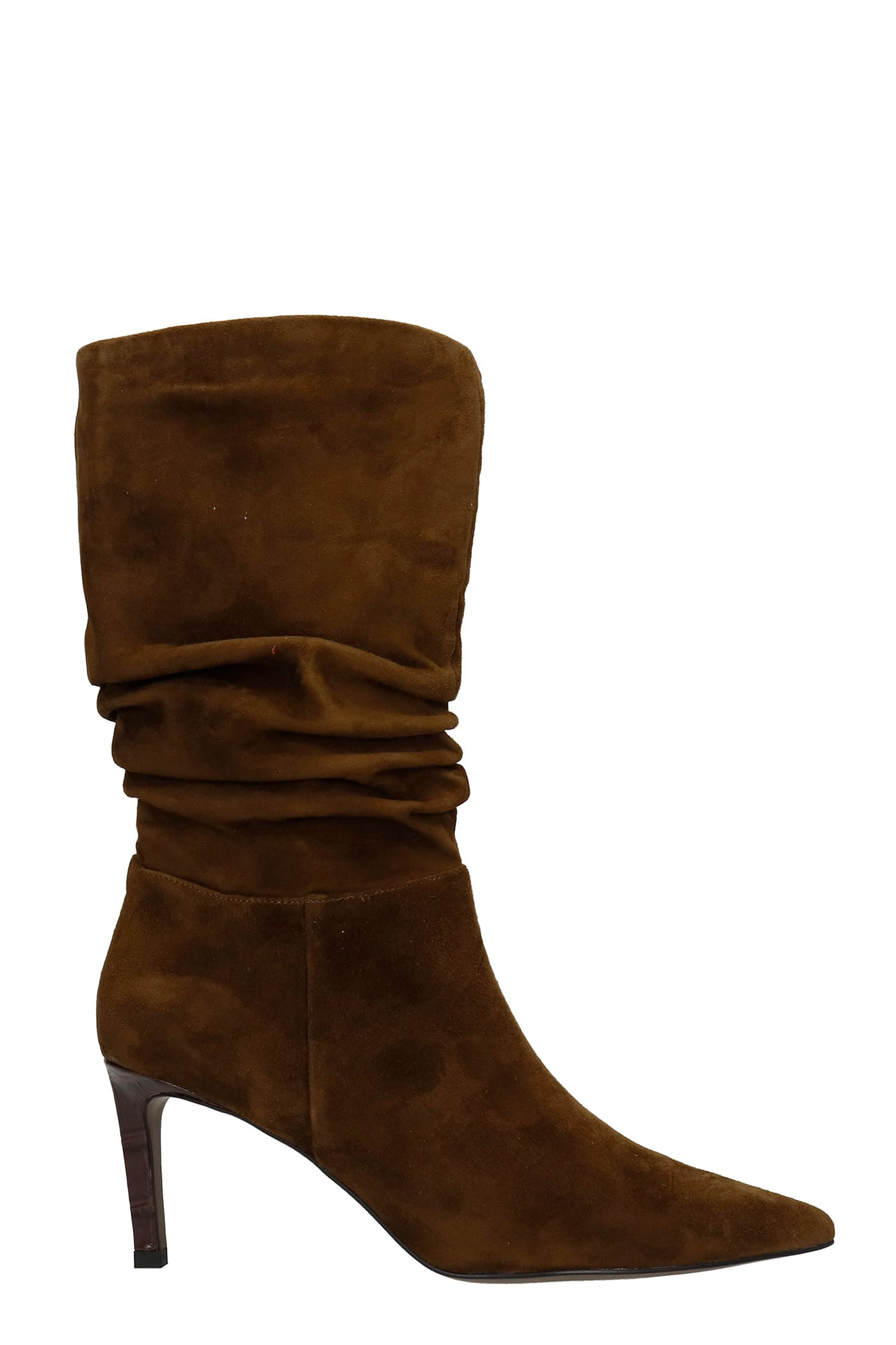 High Heels Ankle Boots In Brown Suede