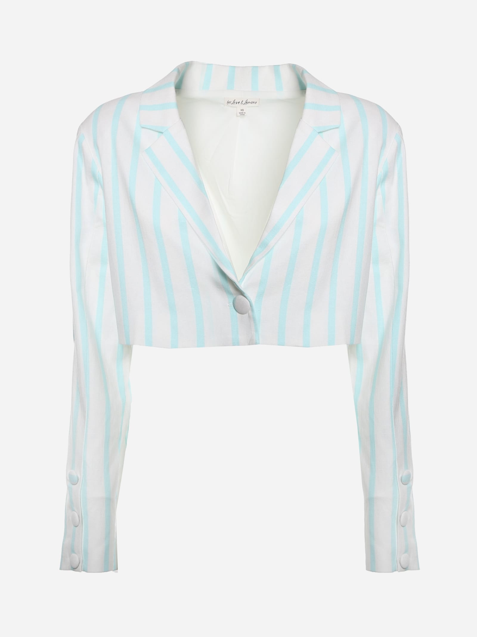 Short Blazer In Stretch Linen With Striped Print