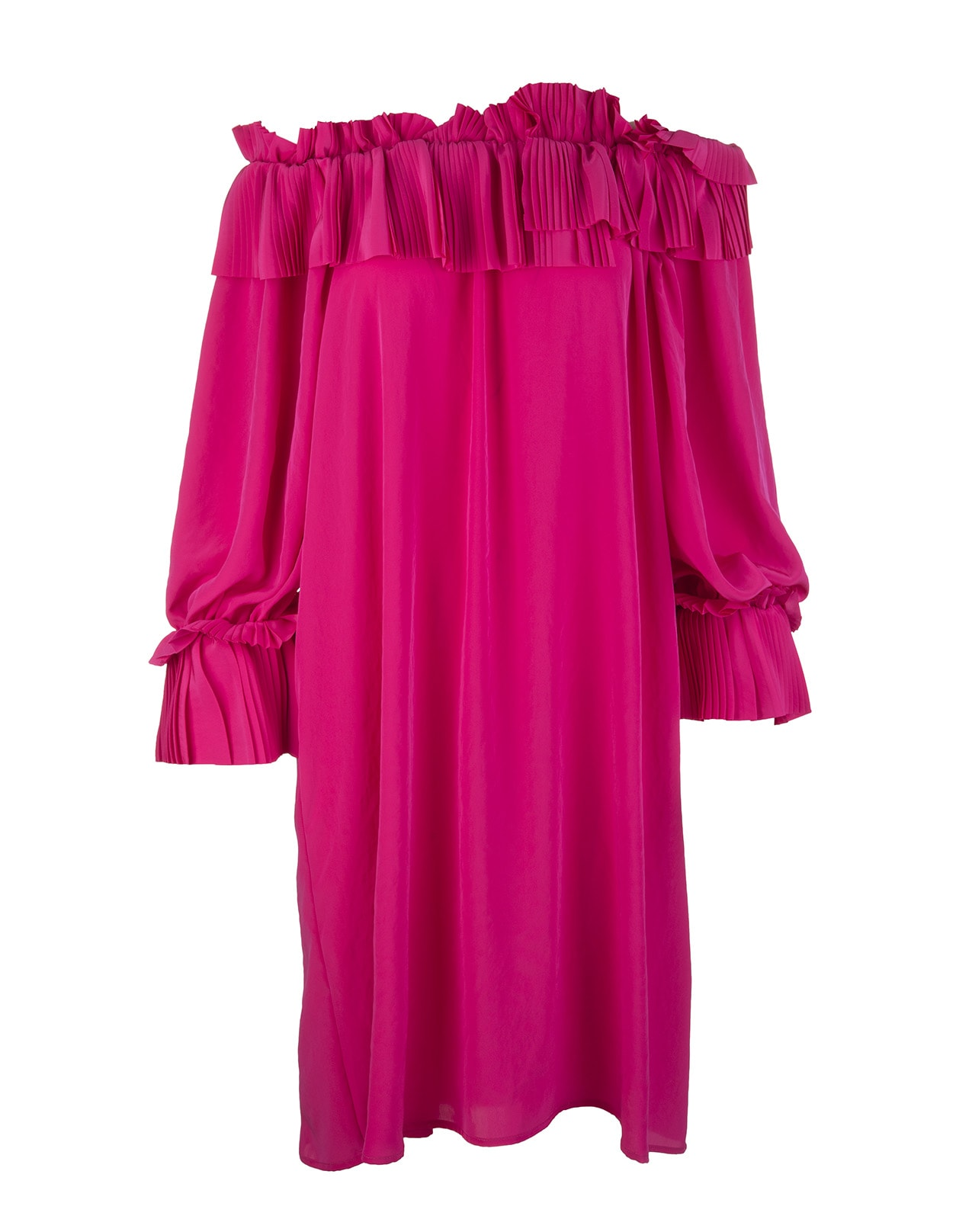 Fuchsia short dress by A.R.O.H. with uncovered shoulders, pleated ruffle neckline and long soft sleeves with cuffs embellished with pleated ruffles. Soft fit. Composition: 100% Polyester