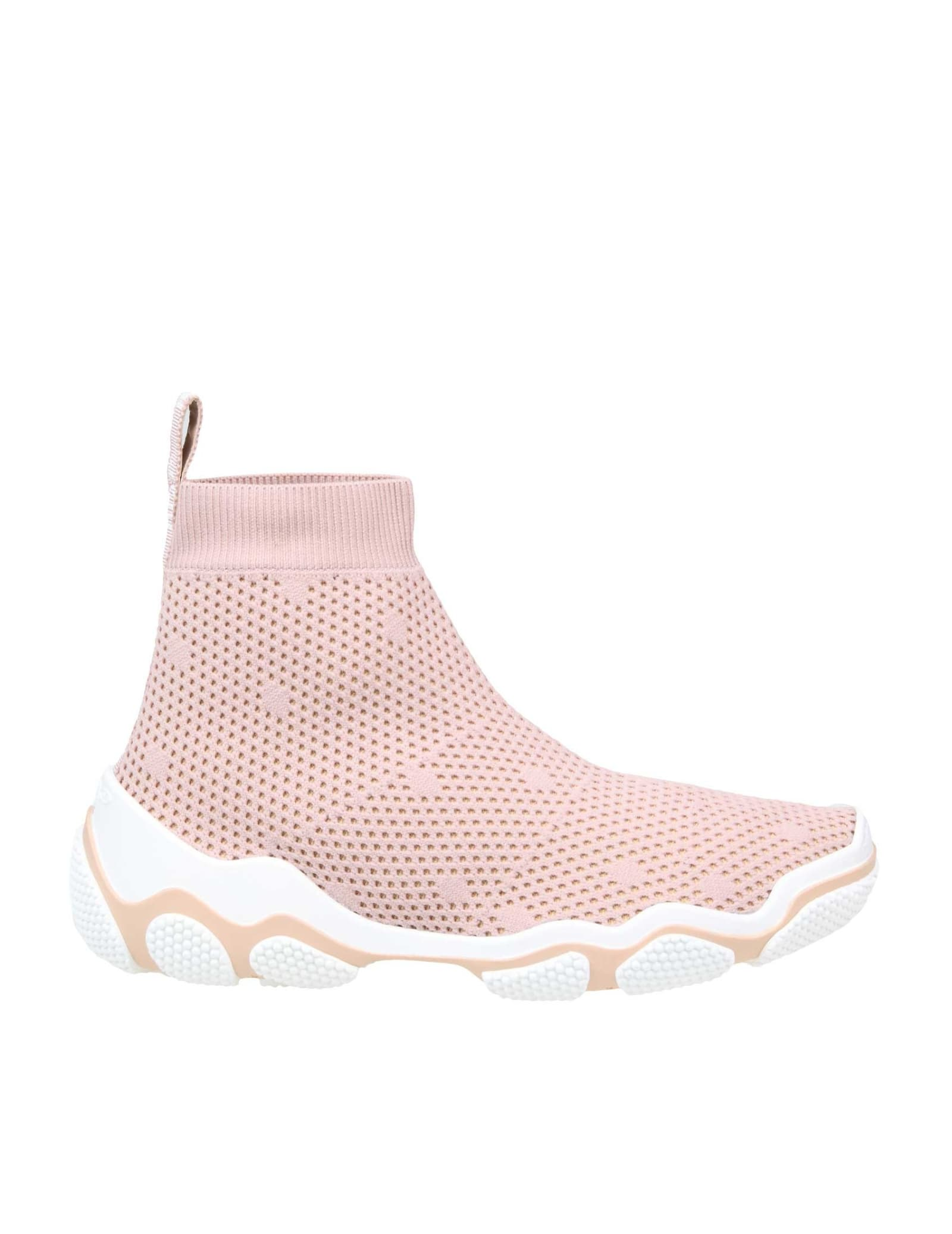 Stretch knit sneakers pink color model with round tip ribbon with logo on the part of the heel knitted interior rubber sole composition: elastic mesh