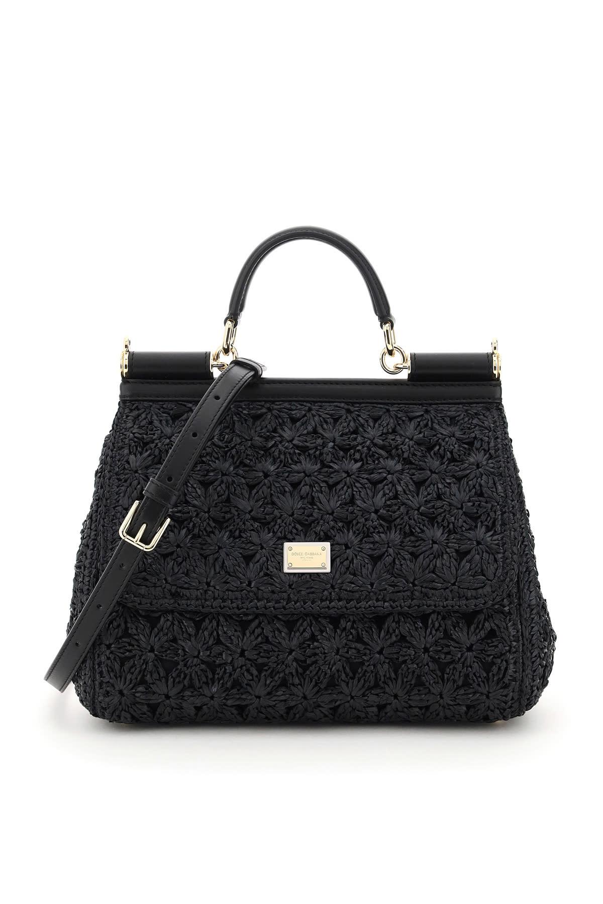 Dolce & Gabbana Leathers SICILY MEDIUM BAG CROCHET RAFFIA
