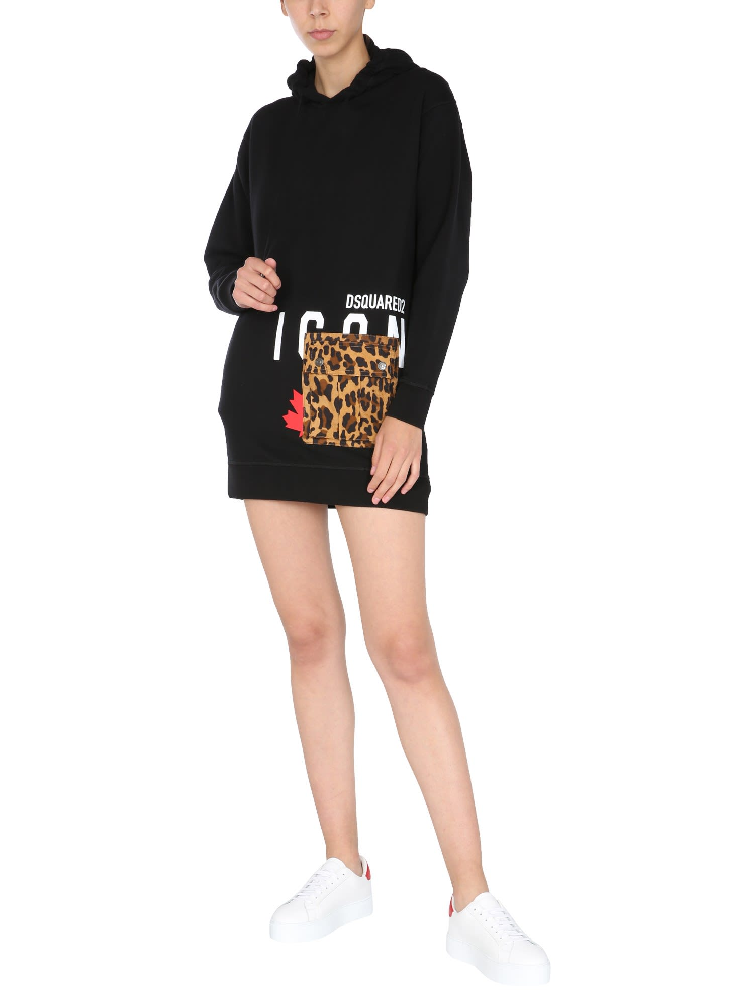 Buy Dsquared2 Mini Dress Hooded Sweatshirt online, shop Dsquared2 with free shipping