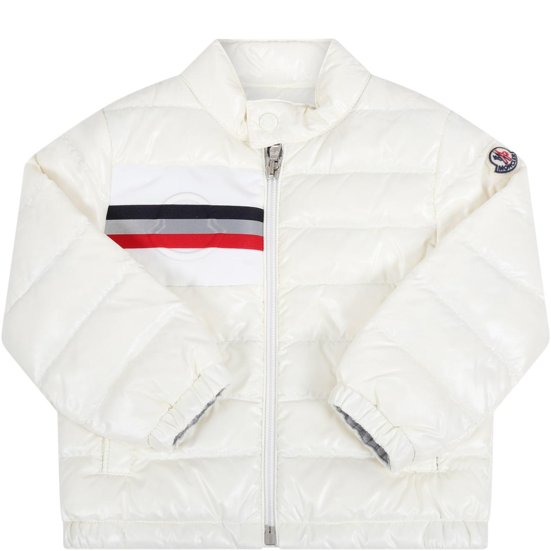 Moncler Ivory alipos Jacket For Babykids With Logo