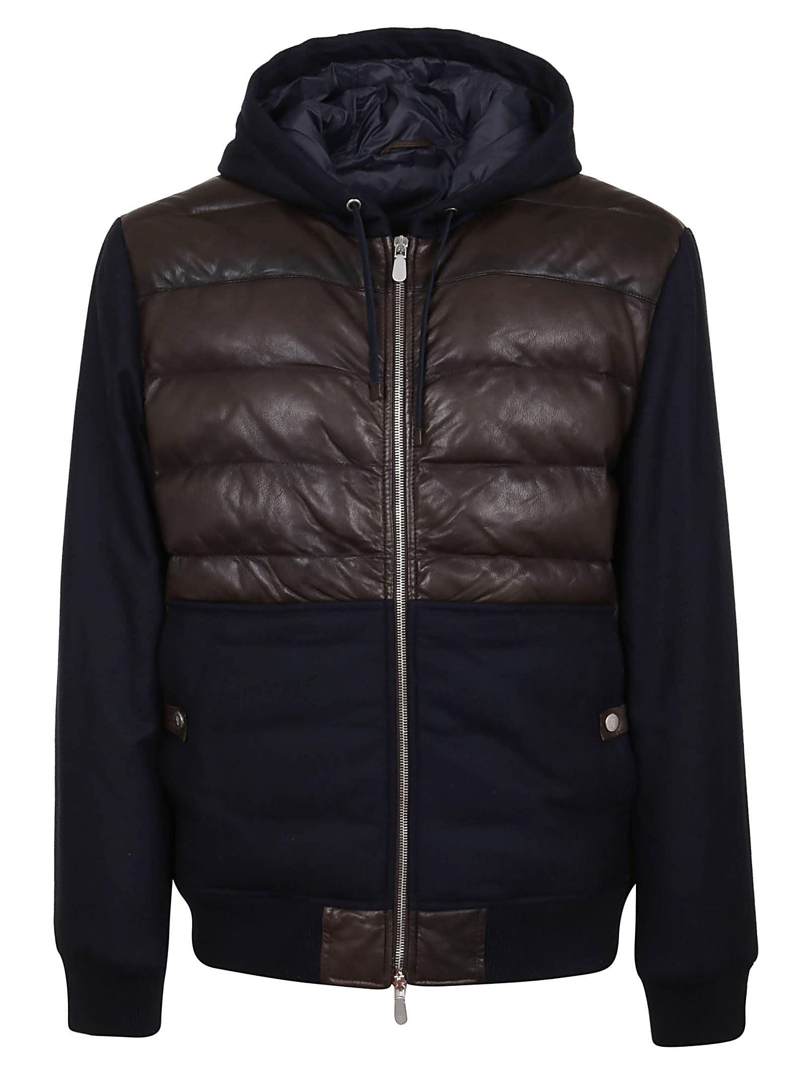 Eleventy Hoodie Leather Jacket