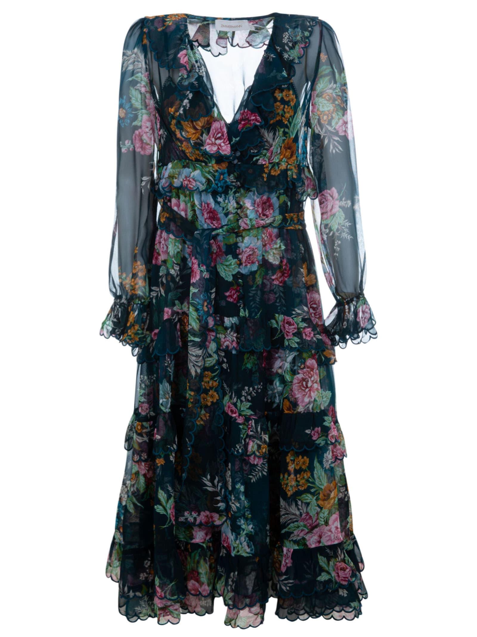 Buy Zimmermann Wavelength Scallop Frill Midi Dress online, shop Zimmermann with free shipping