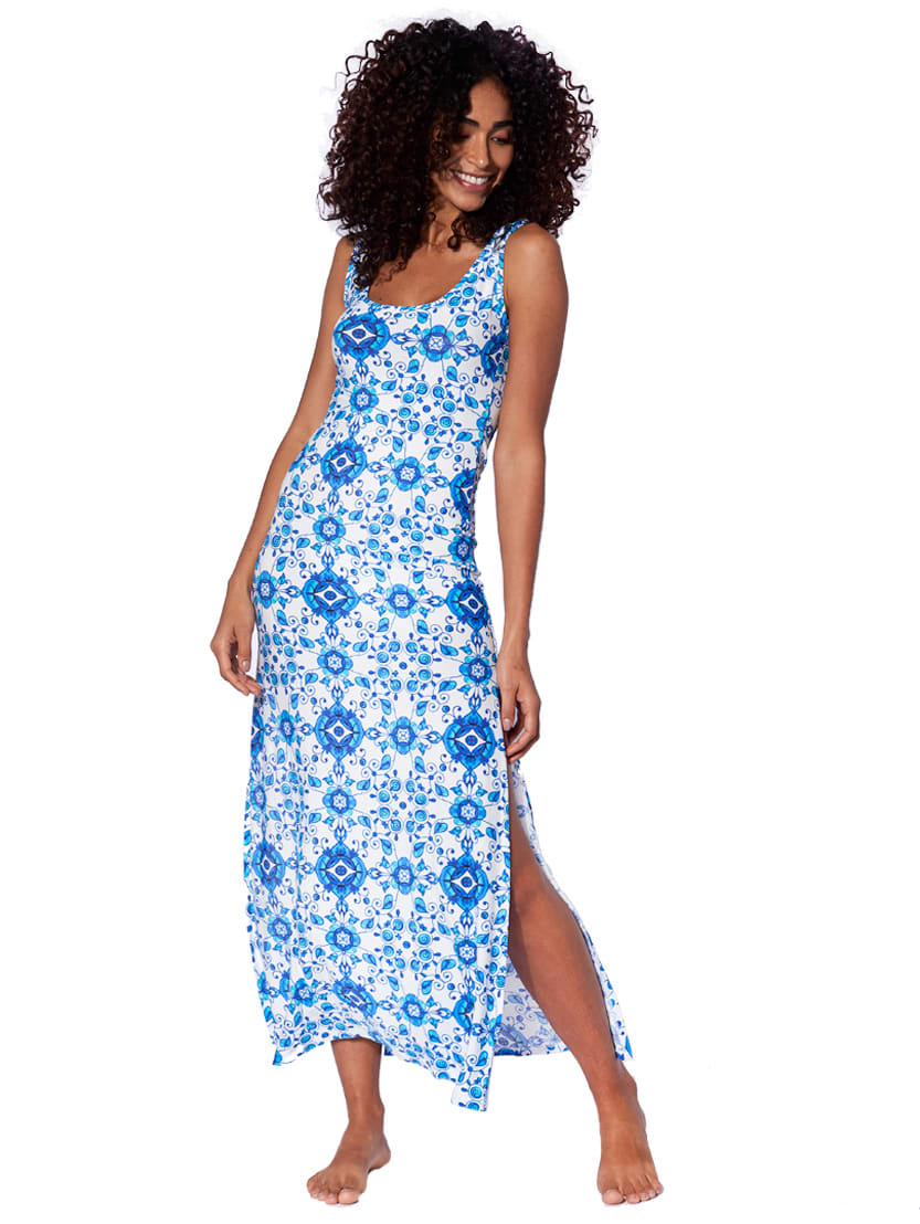 Buy Maiolica Print Long Tank Dress online, shop MC2 Saint Barth with free shipping