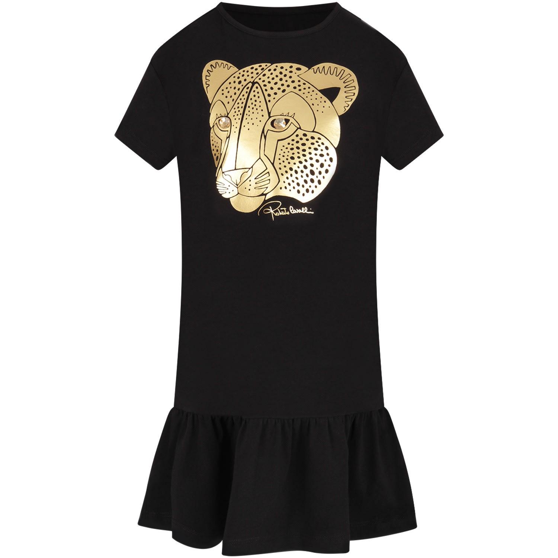 Buy Roberto Cavalli Black Girl Dress With Gold Logo online, shop Roberto Cavalli with free shipping