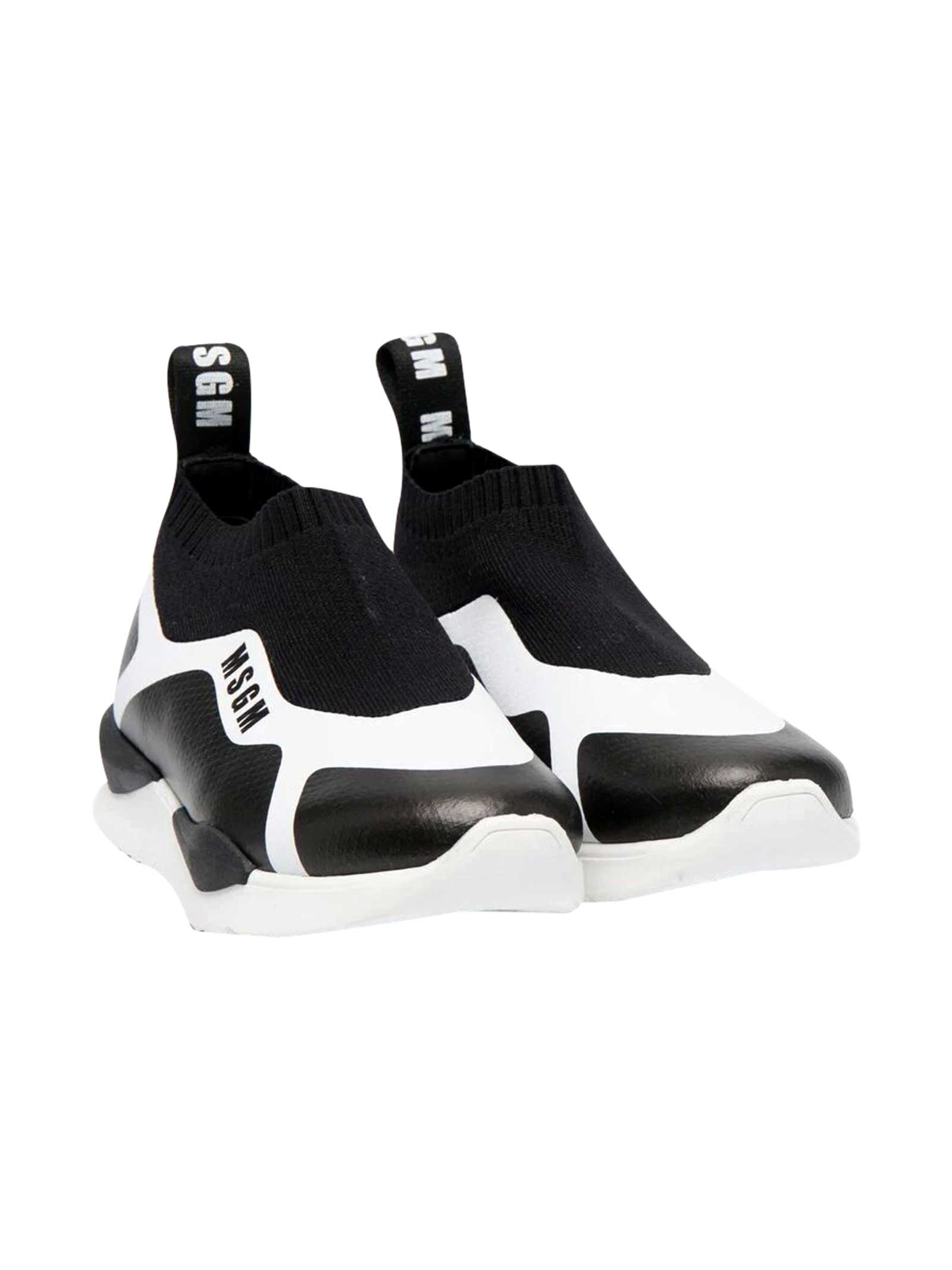 Msgm Sneakers BLACK AND WHITE TEEN SLIP-ON SNEAKERS